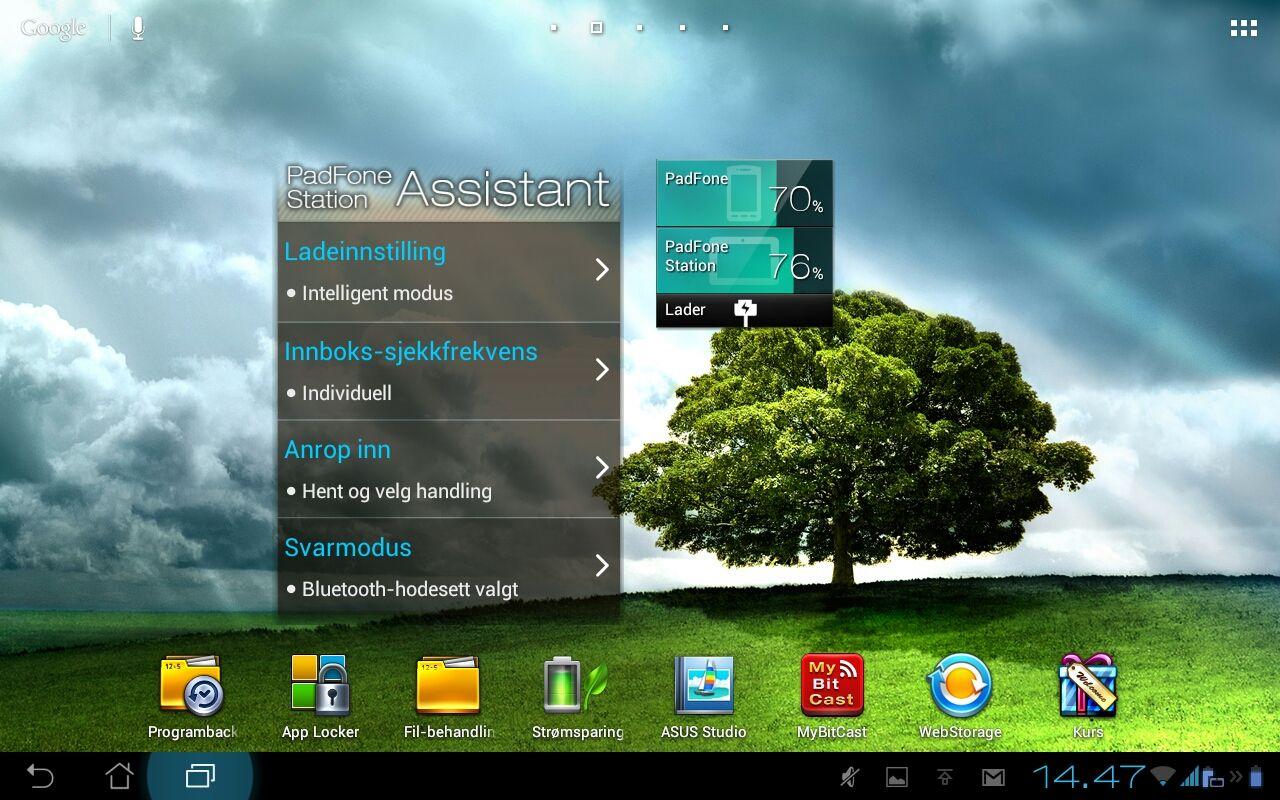 Med widgeten PadFone 2 Assistant har du rask tilgang til strømspareinnstillinger og andre nyttige funksjoner.