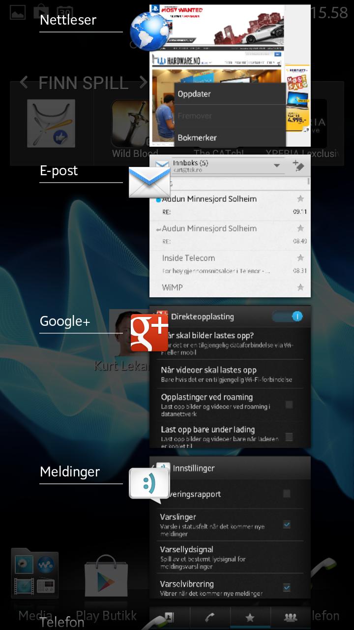 Oppgaveveksleren i Android 4.x lar deg avslutte apper ved å sveipe over dem med fingeren.