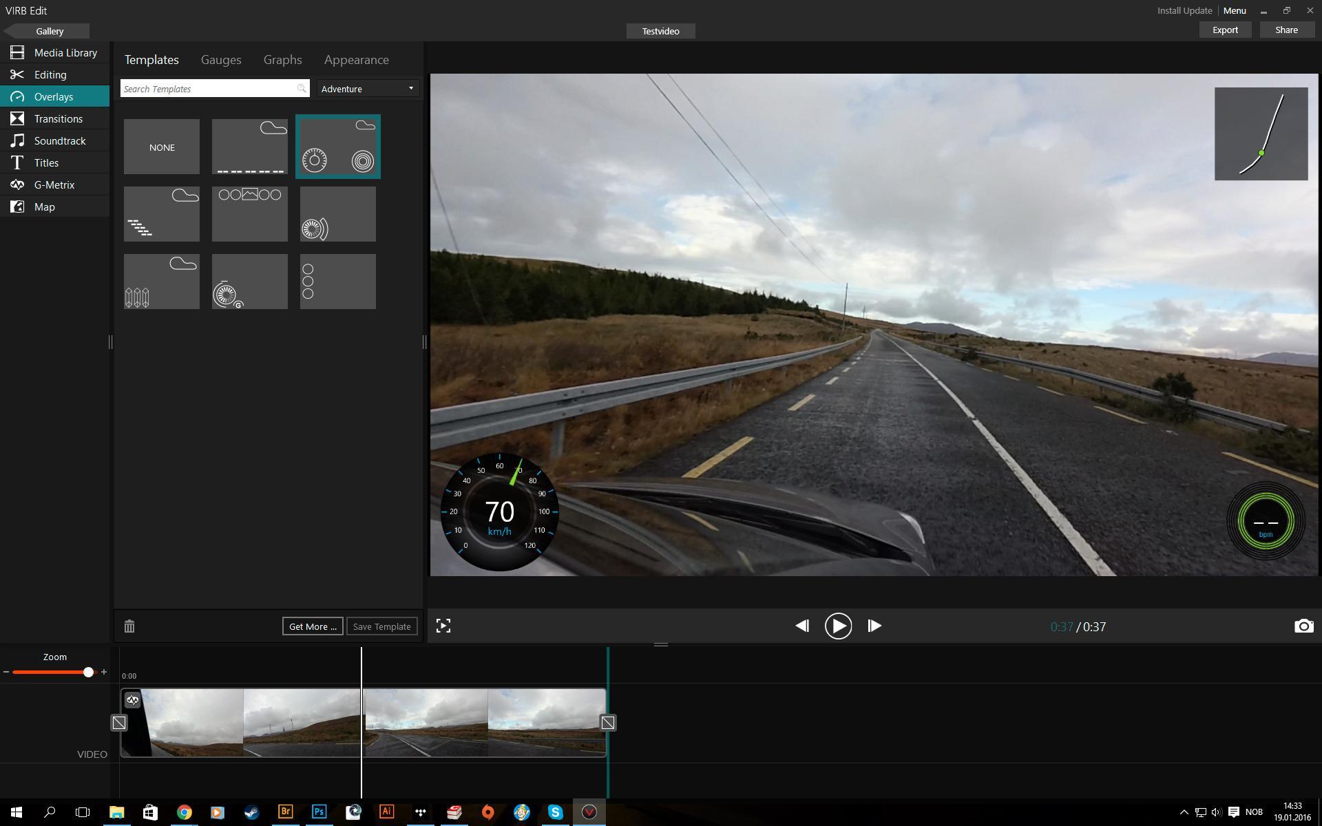 Det er enkelt å legge på for eksempel fartsdata med redigeringsprogrammet.