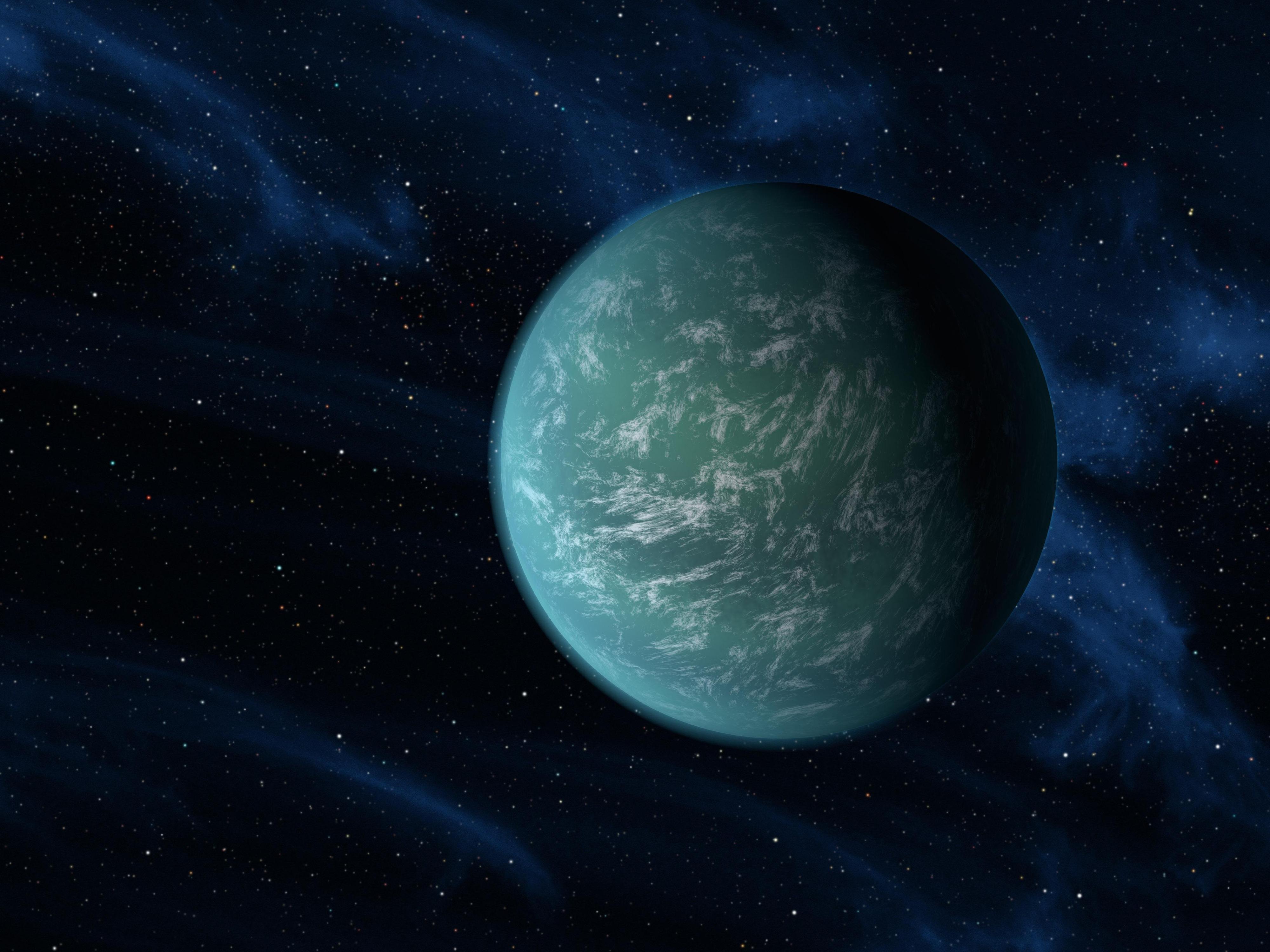 Kunstnerisk framstilling av Kepler-22b, den første oppdagede eksoplaneten i den beboelige sonen. Foto: Ames/JPL-Caltech