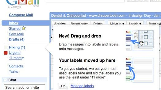 Gmail med klikk-og-dra mulighet