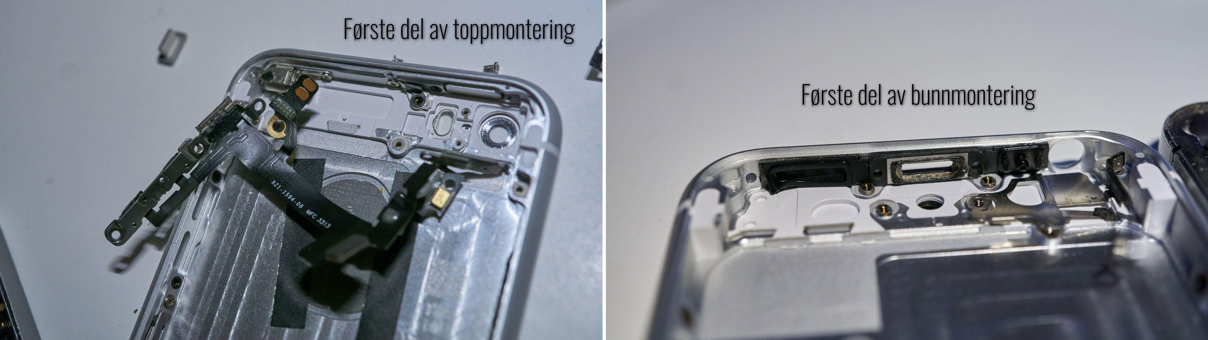 Aller først må elektronikk og pakninger i topp og bunn monteres.