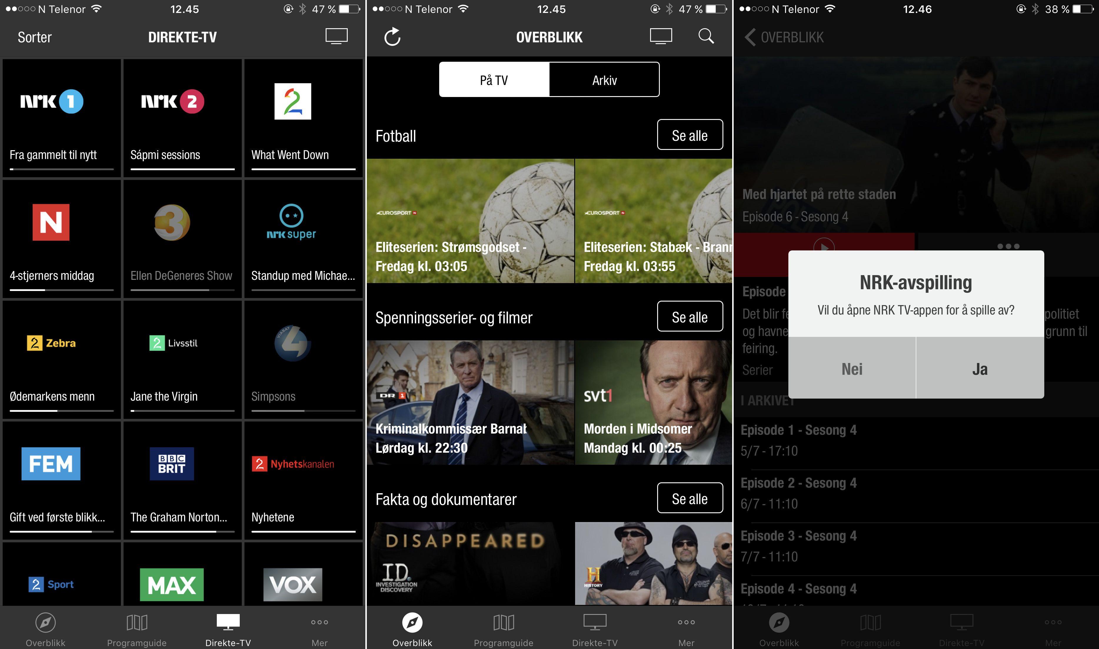 Mobilappen til RiksTV har stort sett funksjonene Apple TV-appen mangler. Inkludert arkivinnhold fra NRK, selv om de må spilles av i NRKs egen app.