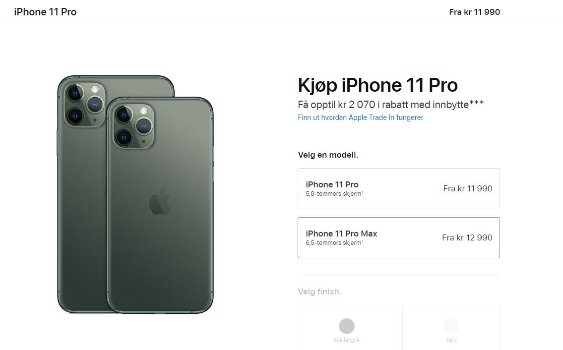 Pro-varianten av iPhone 11 kommer i både vanlig versjon og «Max»-versjon.