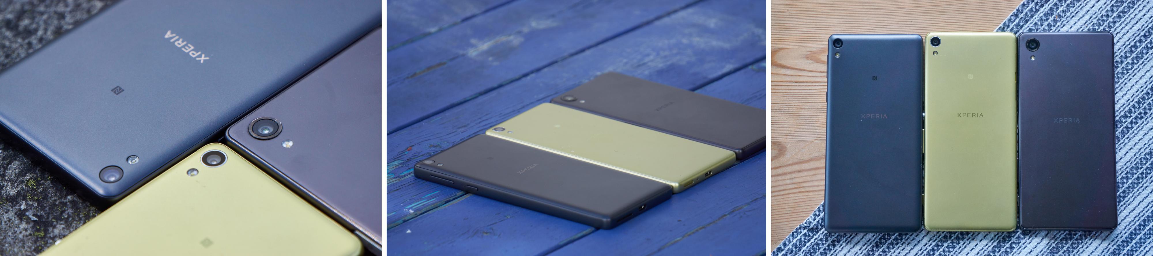Xperia E5, Xperia XA og Xperia X er tydelig skudd fra samme tre. Ingen av dem er vanntette – et klart brudd med tidligere Sony-tradisjoner.