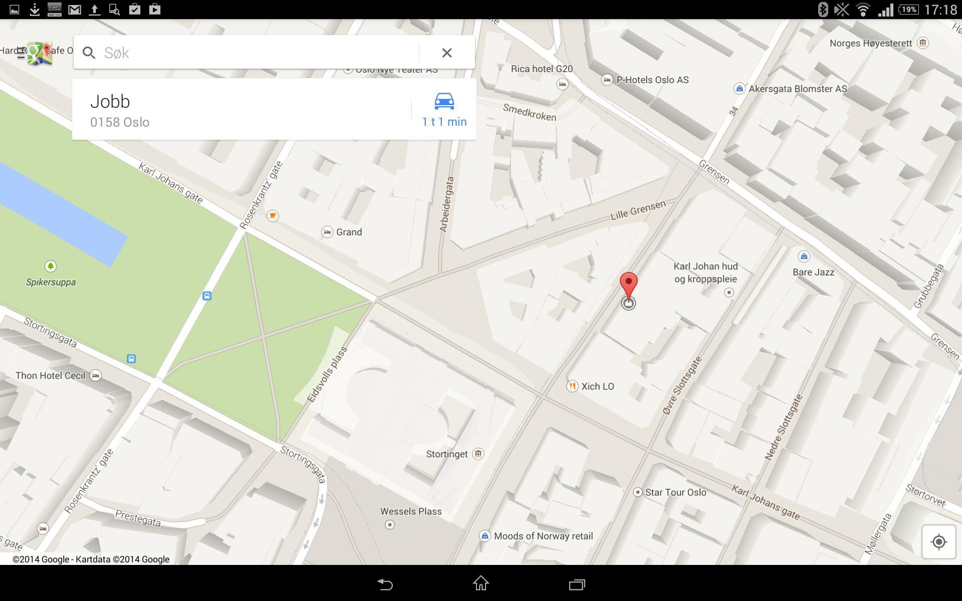 Navigasjonsløsningen til Google fungerer bra på Xperia Tablet Z2.
