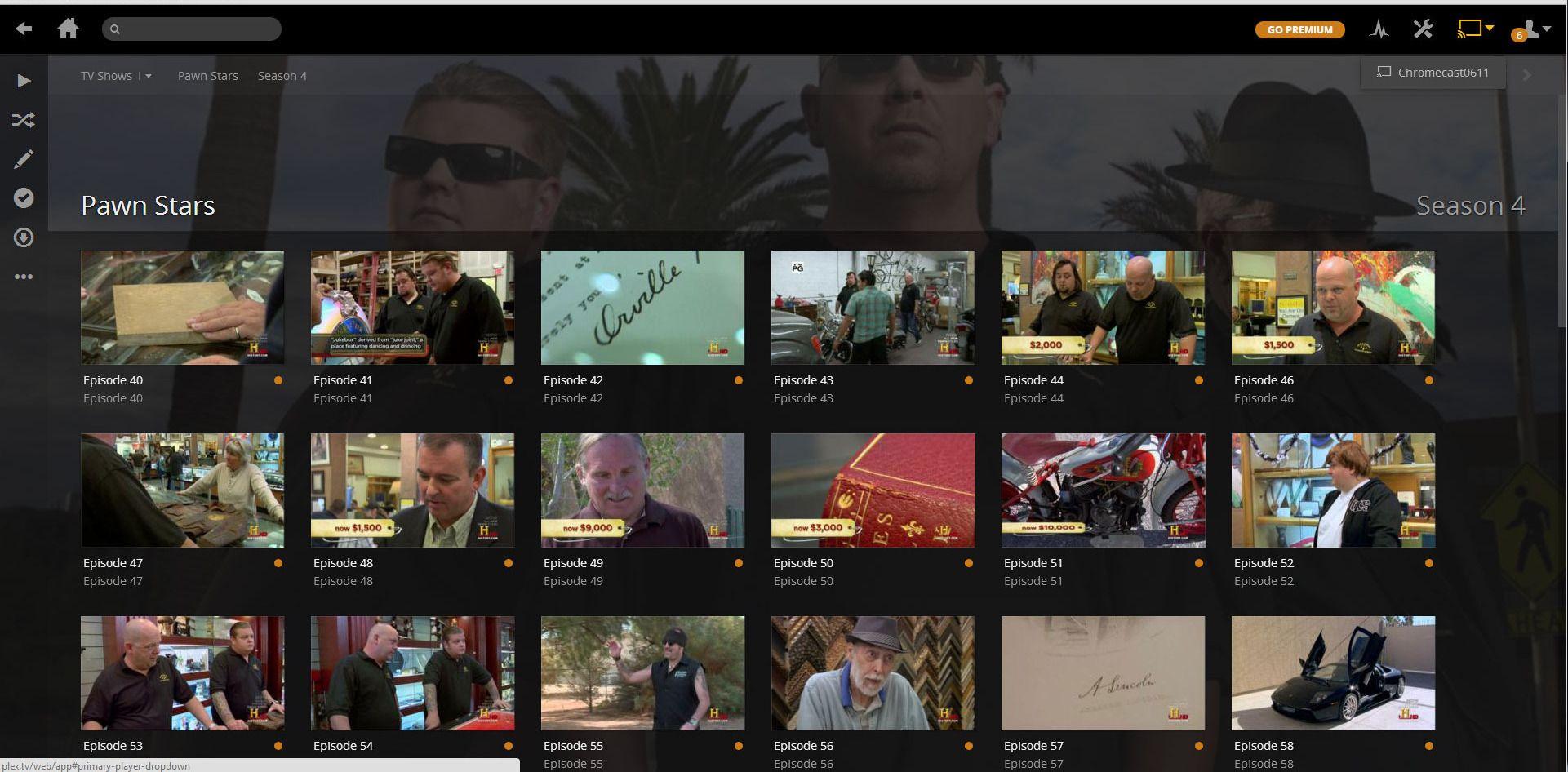 Plex gir deg mulighet til å vise filene dine på TV-en via Chromecast. Legg merke til Google Cast-ikonet oppe i det høyre hjørnet. .Foto: Ole Henrik Johansen / Hardware.no