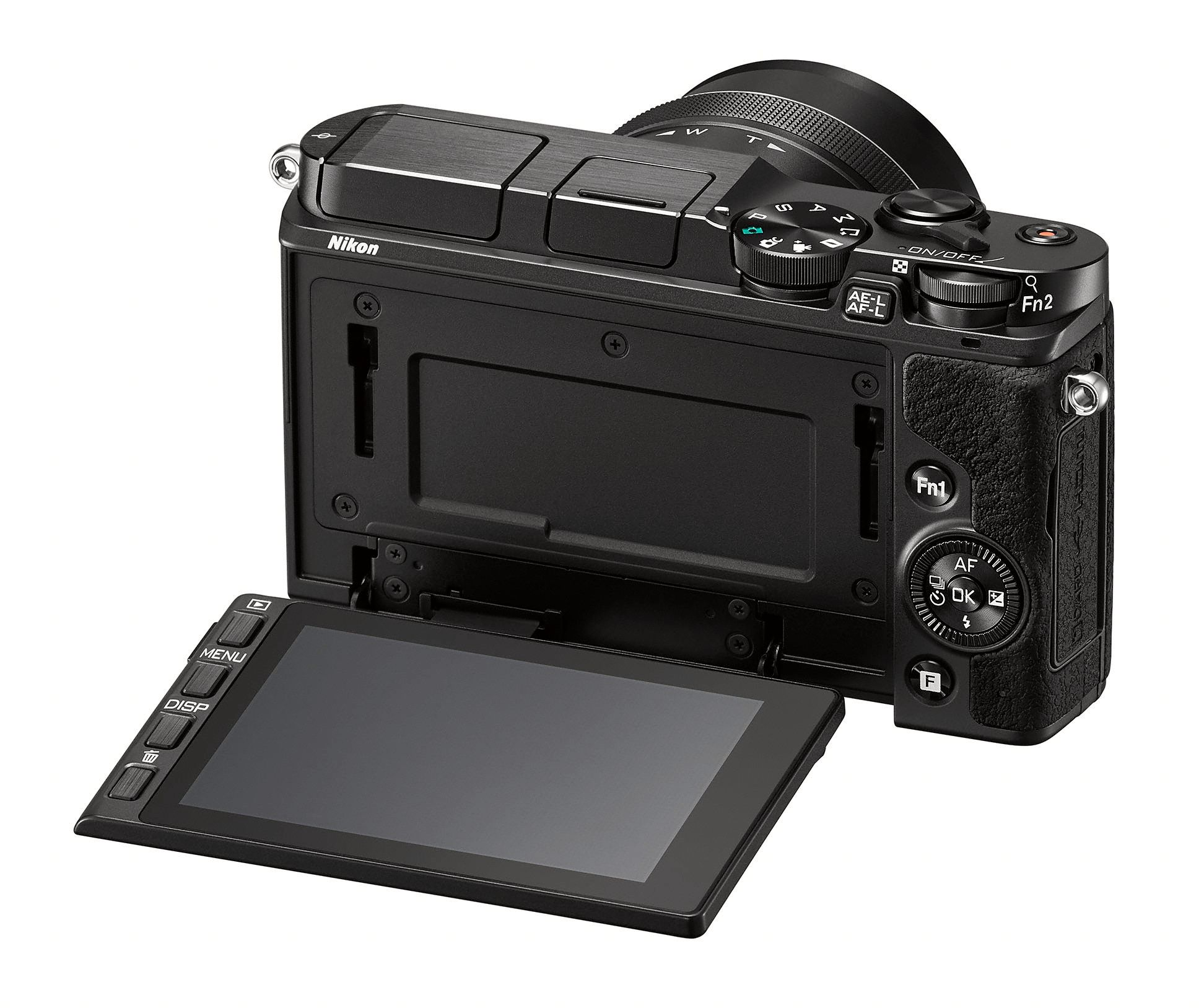 Nikon 1 V3 har skjerm som både er vippbar og berøringsfølsom, et genialt konsept vi elsker ved digitalkameraene.Foto: Nikon