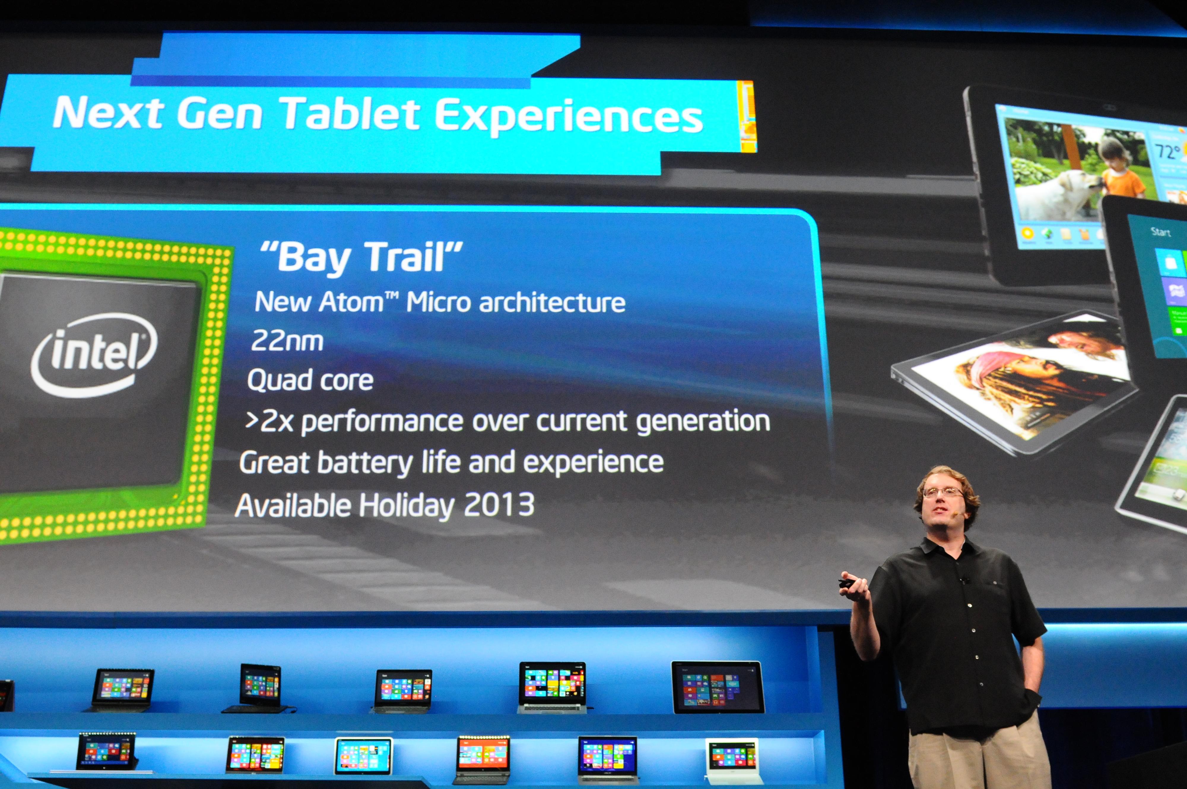Intels Mike Bell fortalte om Bay Trail under CES i januar 2013. .Foto: Intel