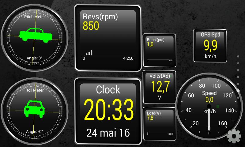 Appen Torque bruker informasjon fra både bilens og mobilens sensorer. GPS-hastigheten viser her den sist målte hastigheten når telefonen ikke har en GPS-posisjon, her fordi vi står parkert i garasjen.