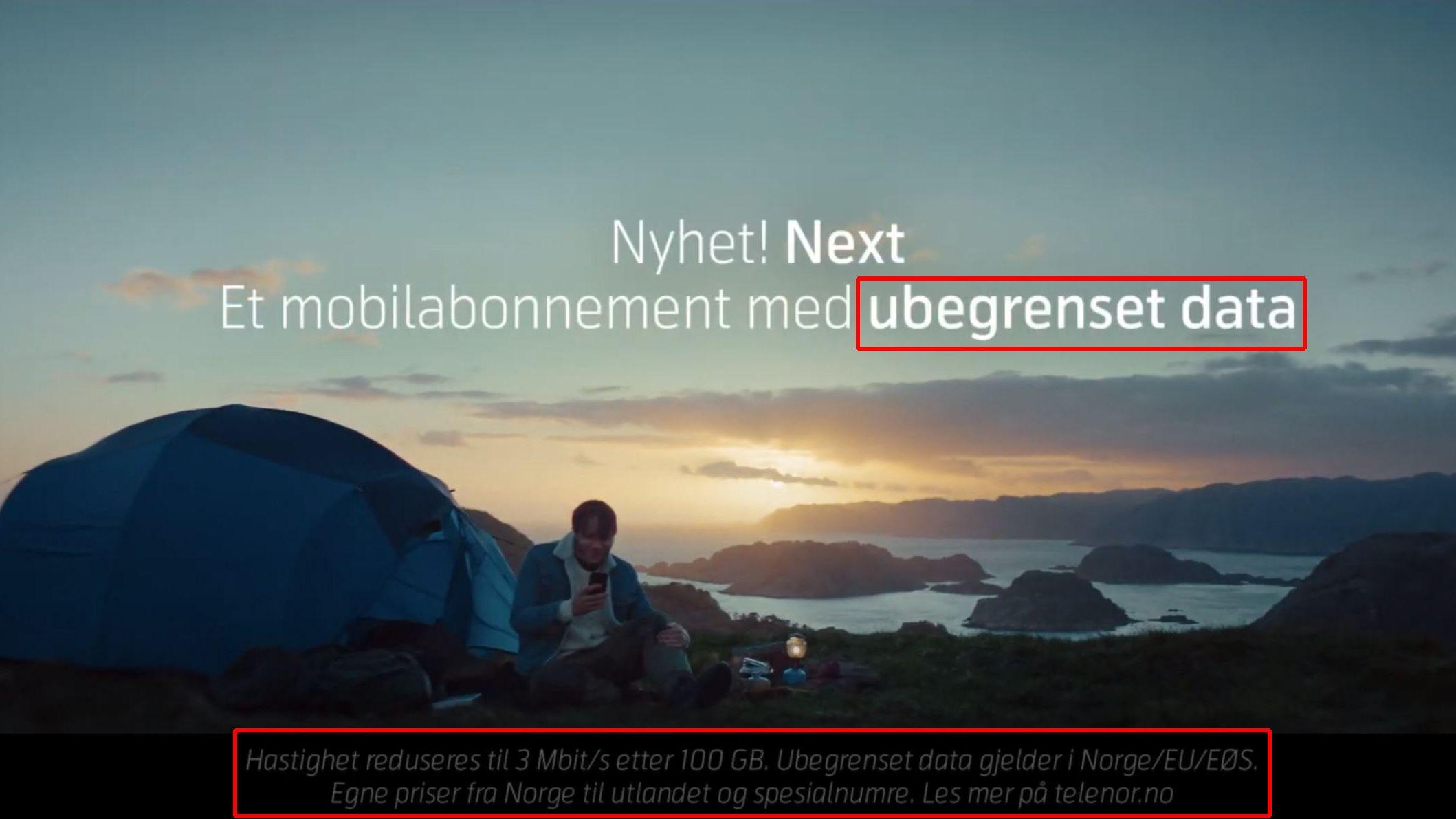 Måten Telenor synliggjør begrensningene i Next-abonnementet i reklamevideoer er for dårlig, mener Forbrukertilsynet.