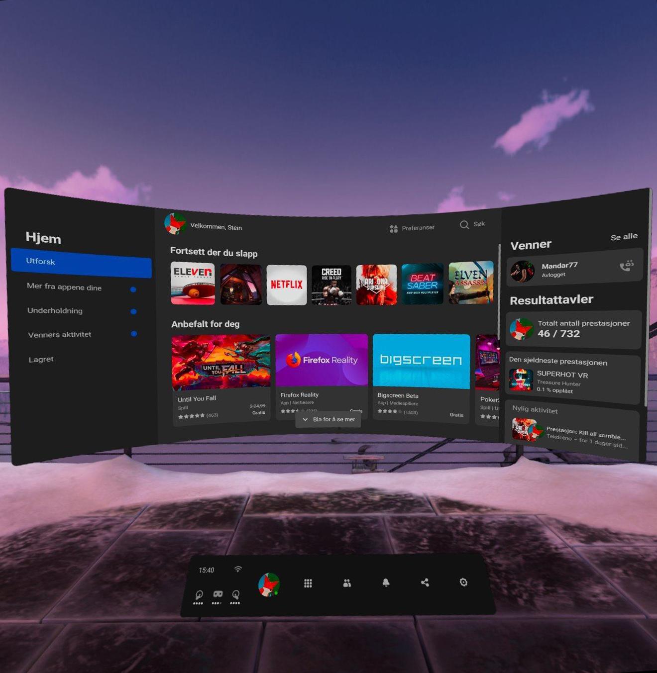 Hjemskjermen på Oculus Quest 2.