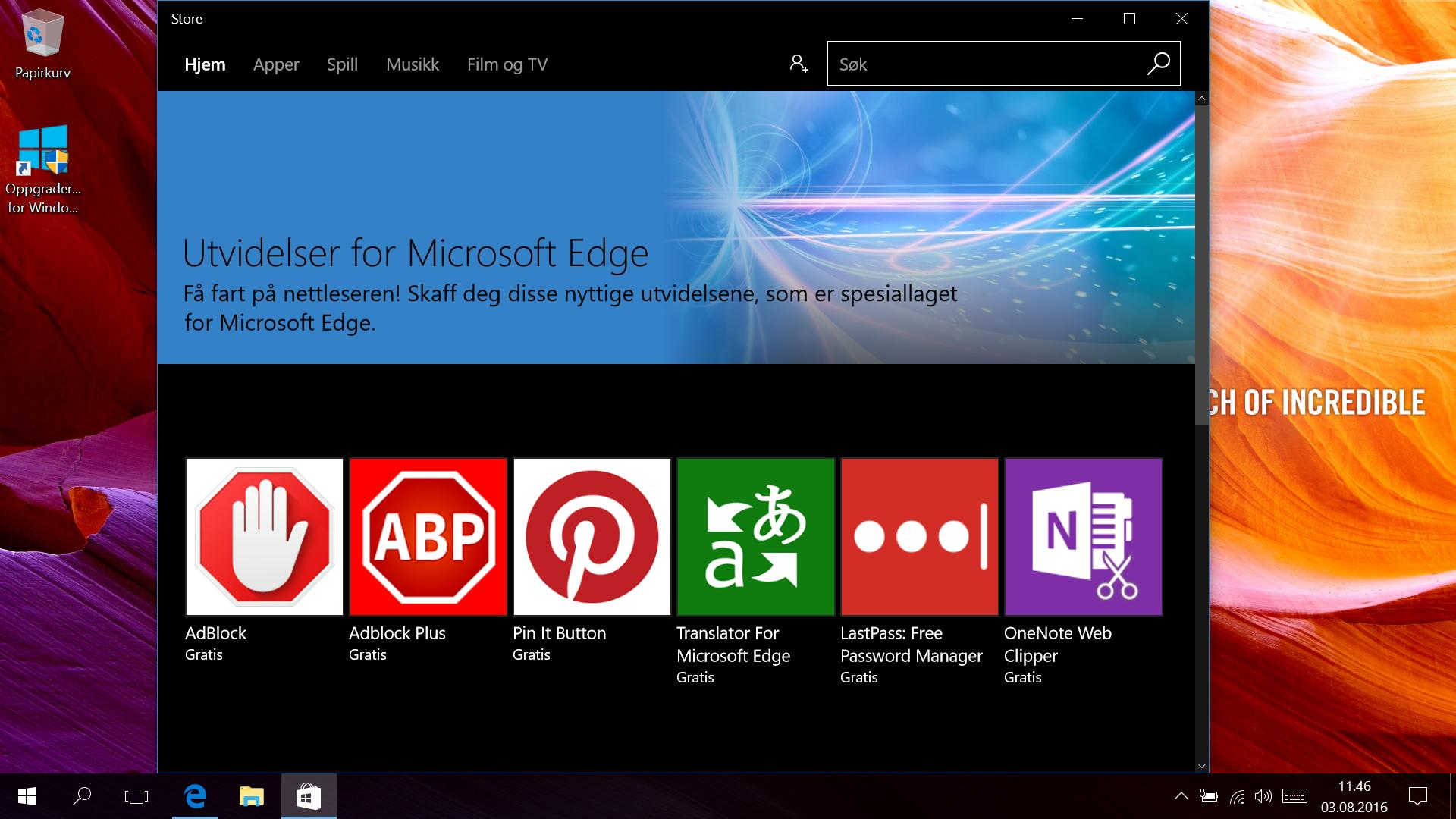Endelig! Microsofts Edge-nettleser har nå støtte for utvidelser. Utvalget er litt begrenset nå i starten, men vi tipper det tar seg fort opp.