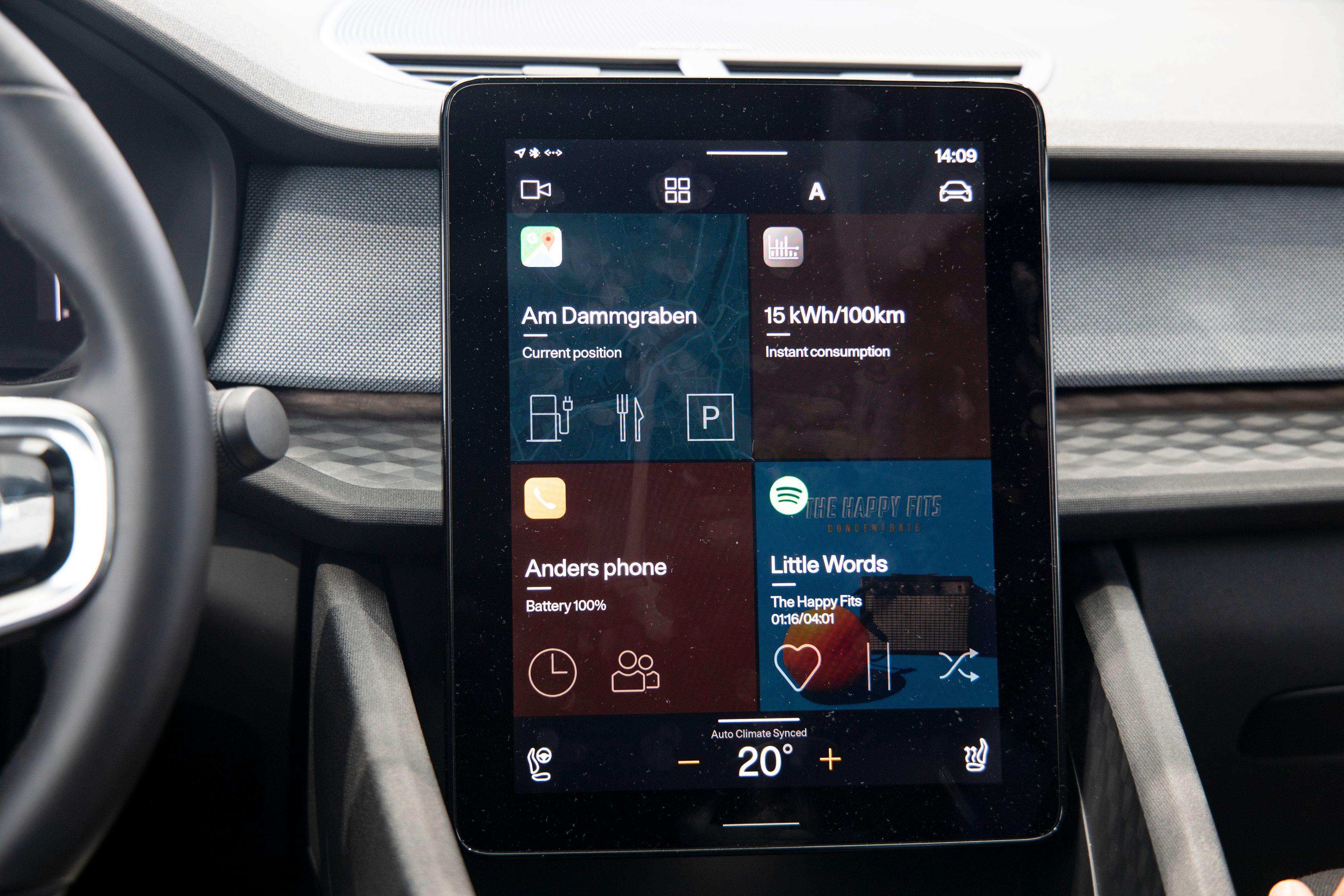 Det spesialutviklede Android-systemet i Polestar 2.