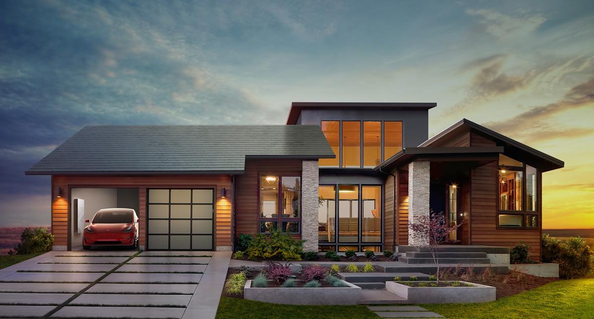 Slik skal det se ut med solpanel på taket fra Tesla.