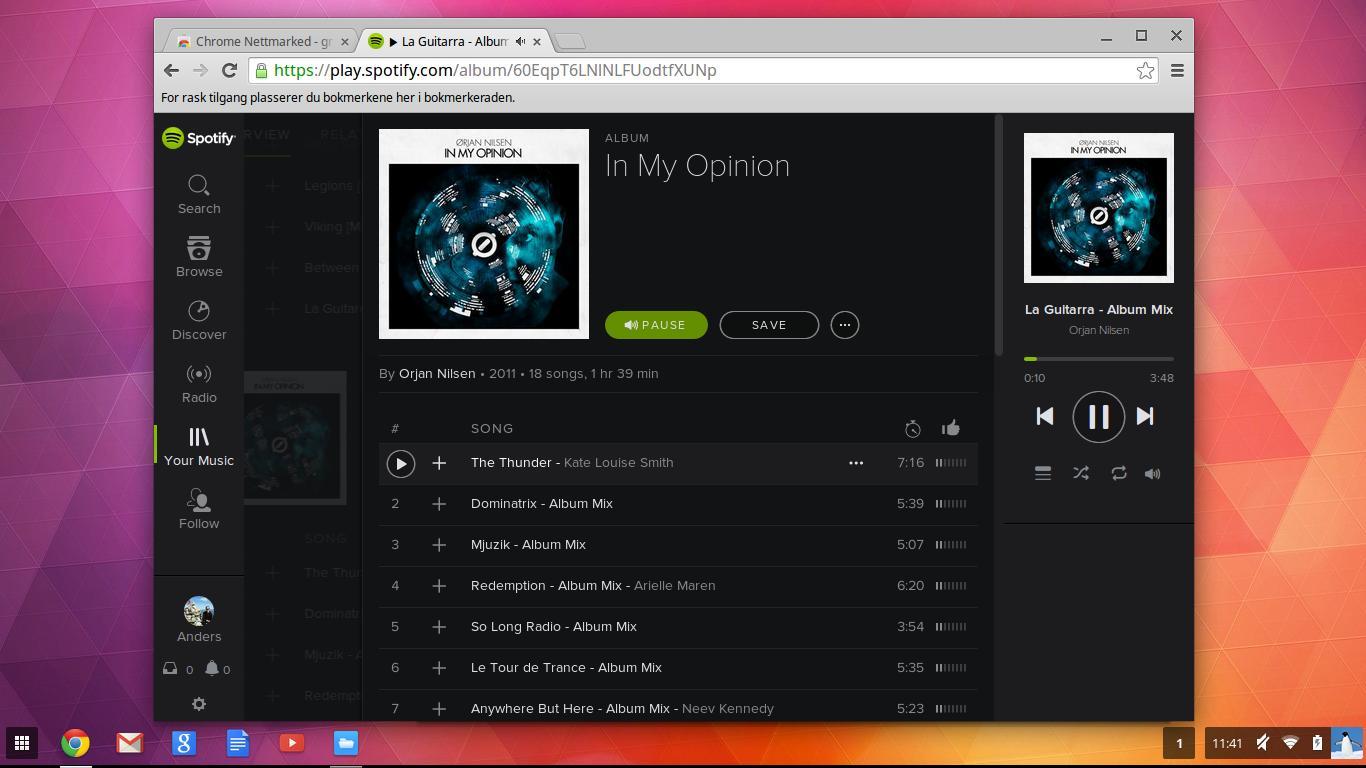 Spotifys nettspiller fungerer veldig bra, selv om du må være tilkoblet nett for å bruke den.