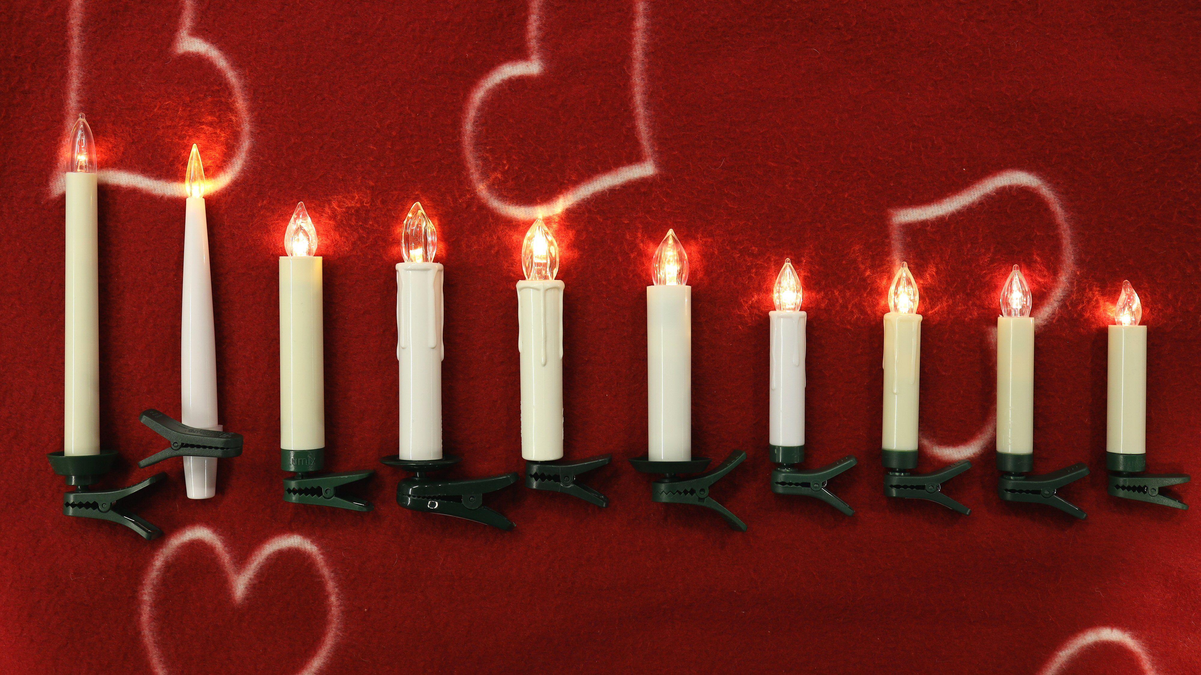 Fra venstre: Konstsmide 1920, Northlight (lange), Lumix (standard), Rusta (AA-størrelse), Kulz, Northlight (AA-størrelse), Rusta (AAA-størrelse), Star-Max, Anslut og Lumix Mini.