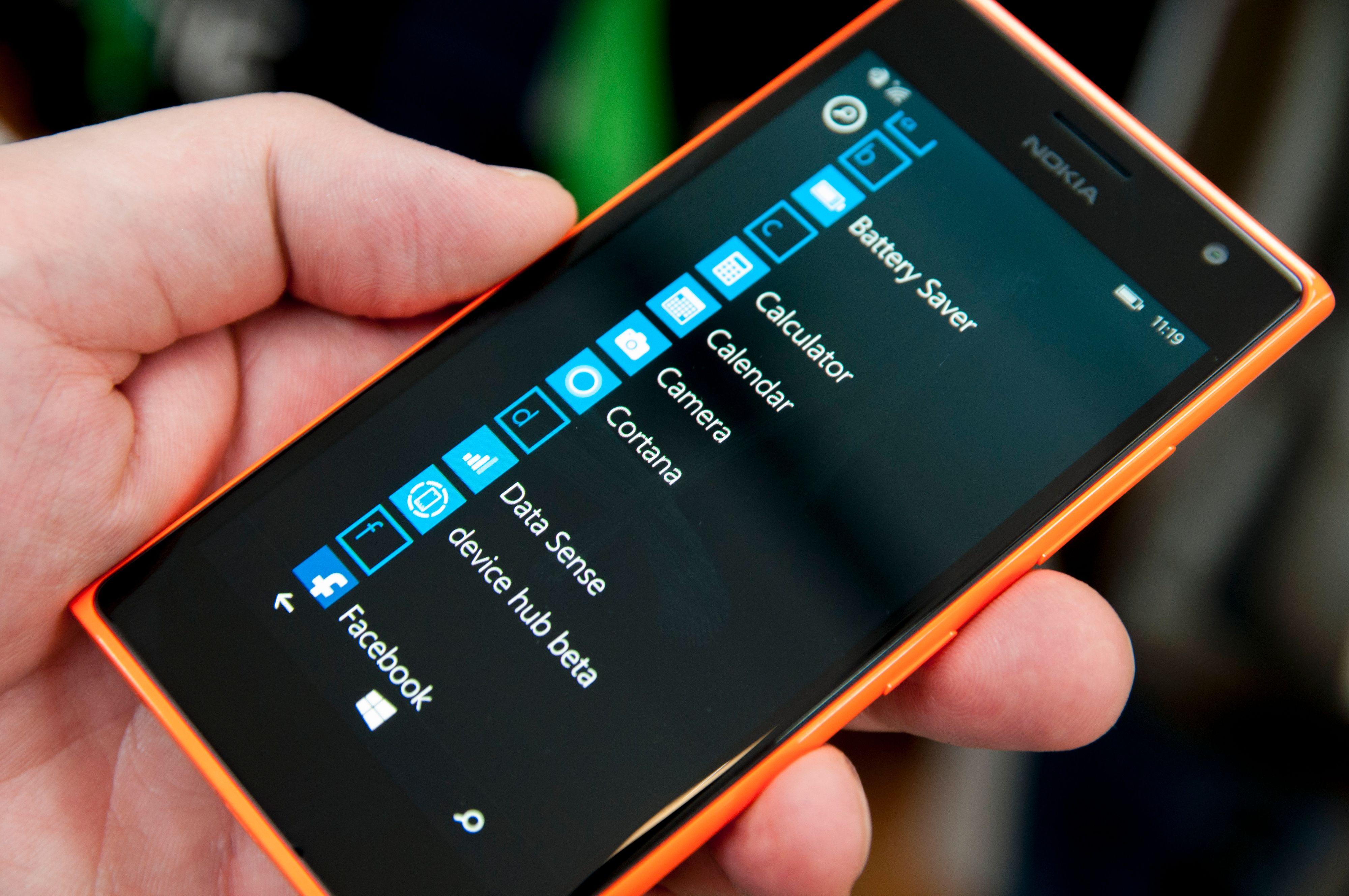 App-menyen i Windows Phone.