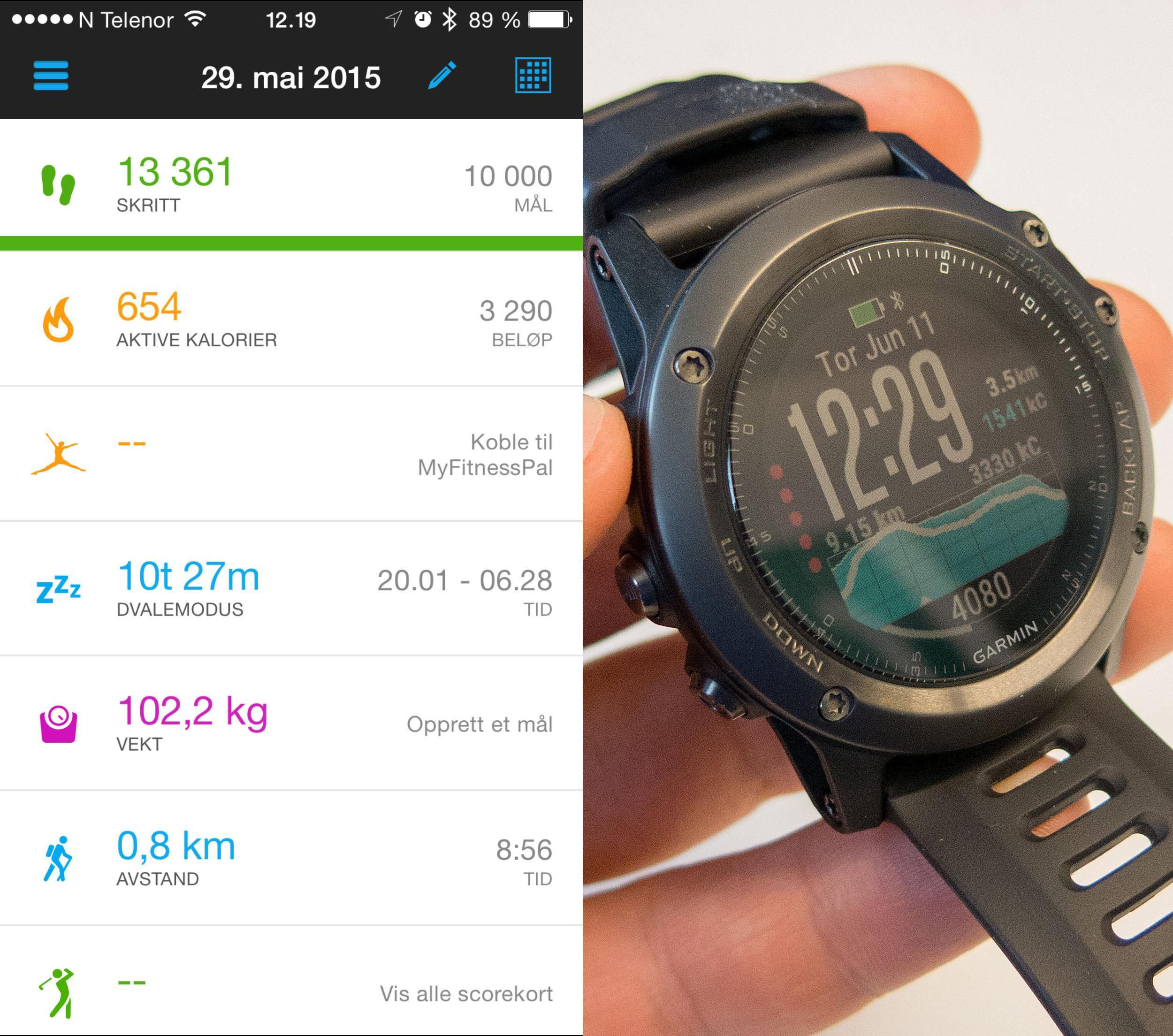 Garmin Fenix 3 er en diger og robust klokke. Det hører til app, og en av dens sterke sider er at denholder i rundt to uker på en lading. Foto: Ole Henrik Johansen, Tek.no
