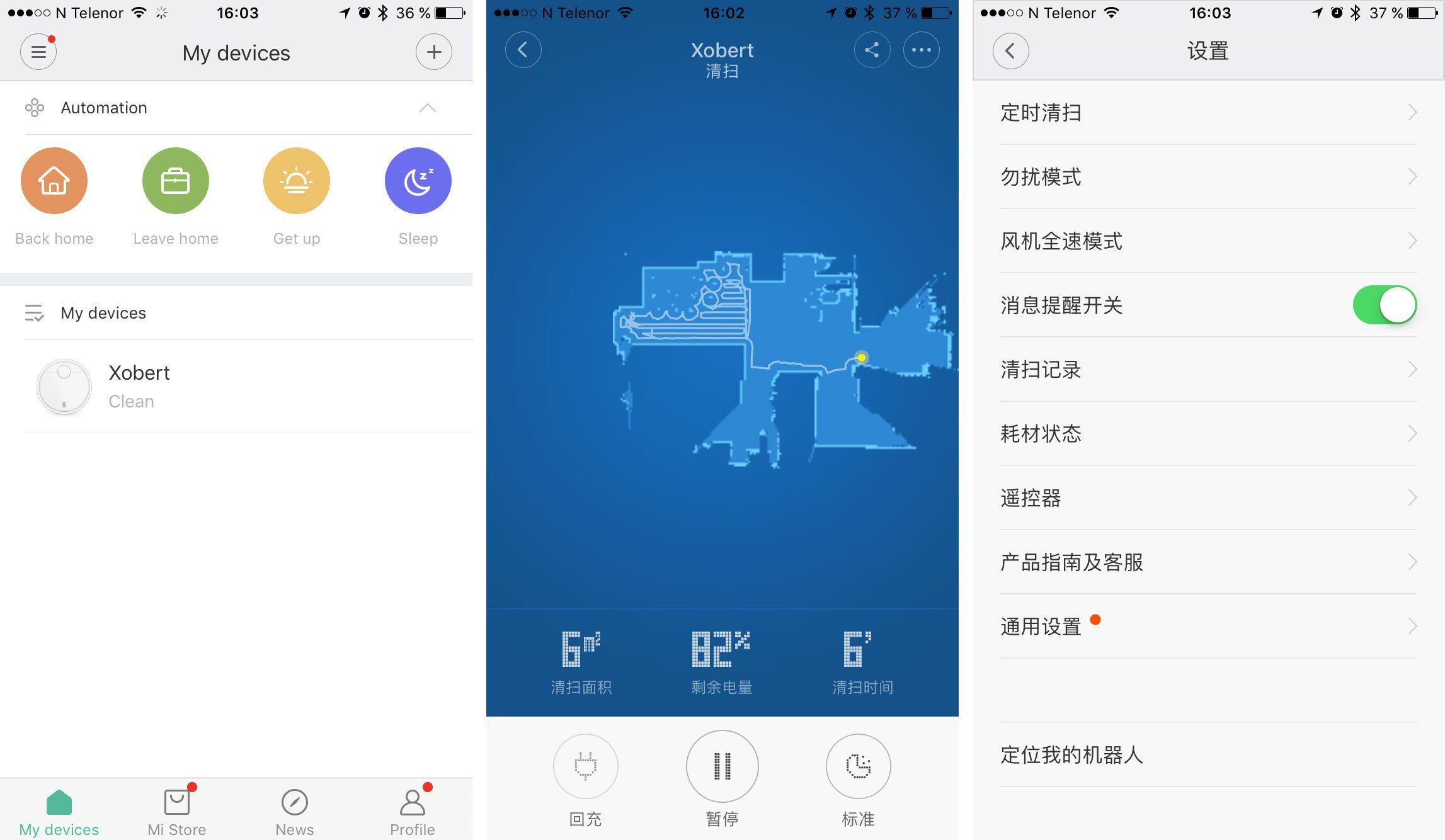 """Startskjermen byr på et par engelske ord, men når du kommer deg inn i selve styringen av robotstøvsugeren er alt på kinesisk. Men appen er utrolig avansert, og du kan blant annet følge med på støvsugeren i sanntid, og se hvor i rommet den er og hva sensoren på toppen """"ser""""."""