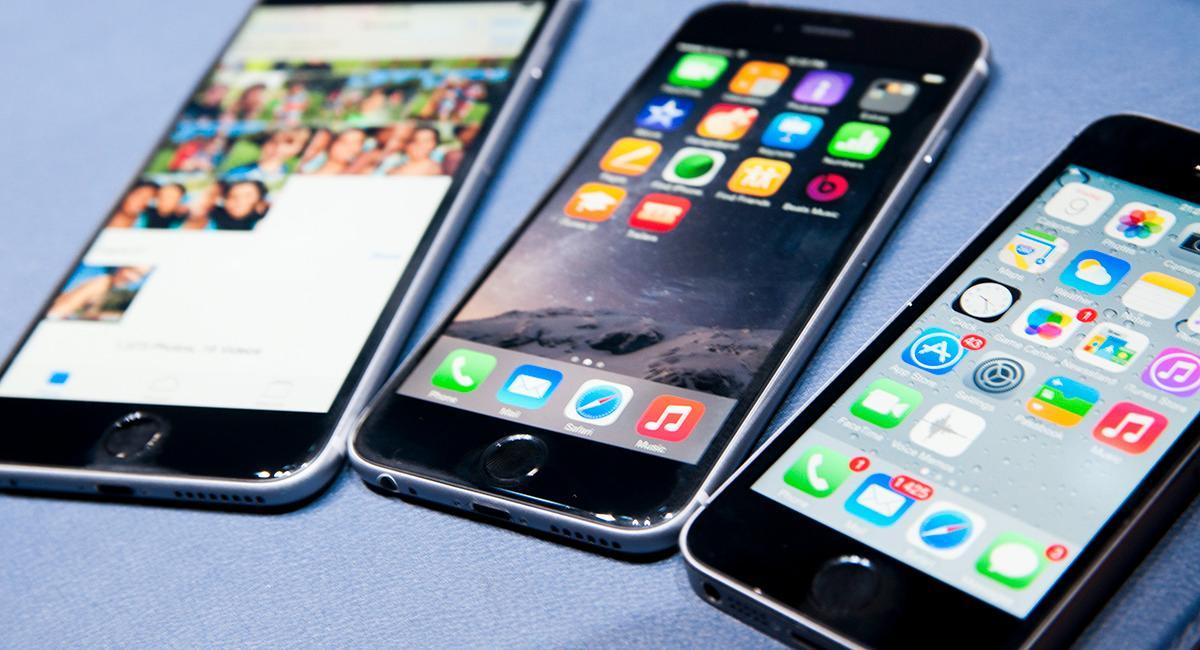 Fra venstre: iPhone 6 Plus, iPhone 6 og iPhone 5S.Foto: Finn Jarle Kvalheim, Amobil.no