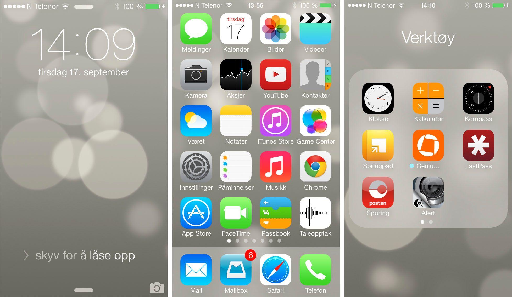 Menyene i iOS 7 har fått en mer moderne og mer fargerik design.