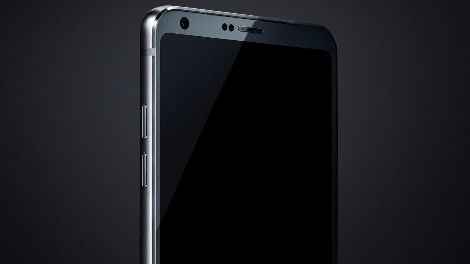 Dette bildet skal vise øvre halvdelen av LG G6. Tynnere rammer og fokus på lyd er blant tipsene. Modulariteten fra LG G5 blir tilsynelatende fjernet.