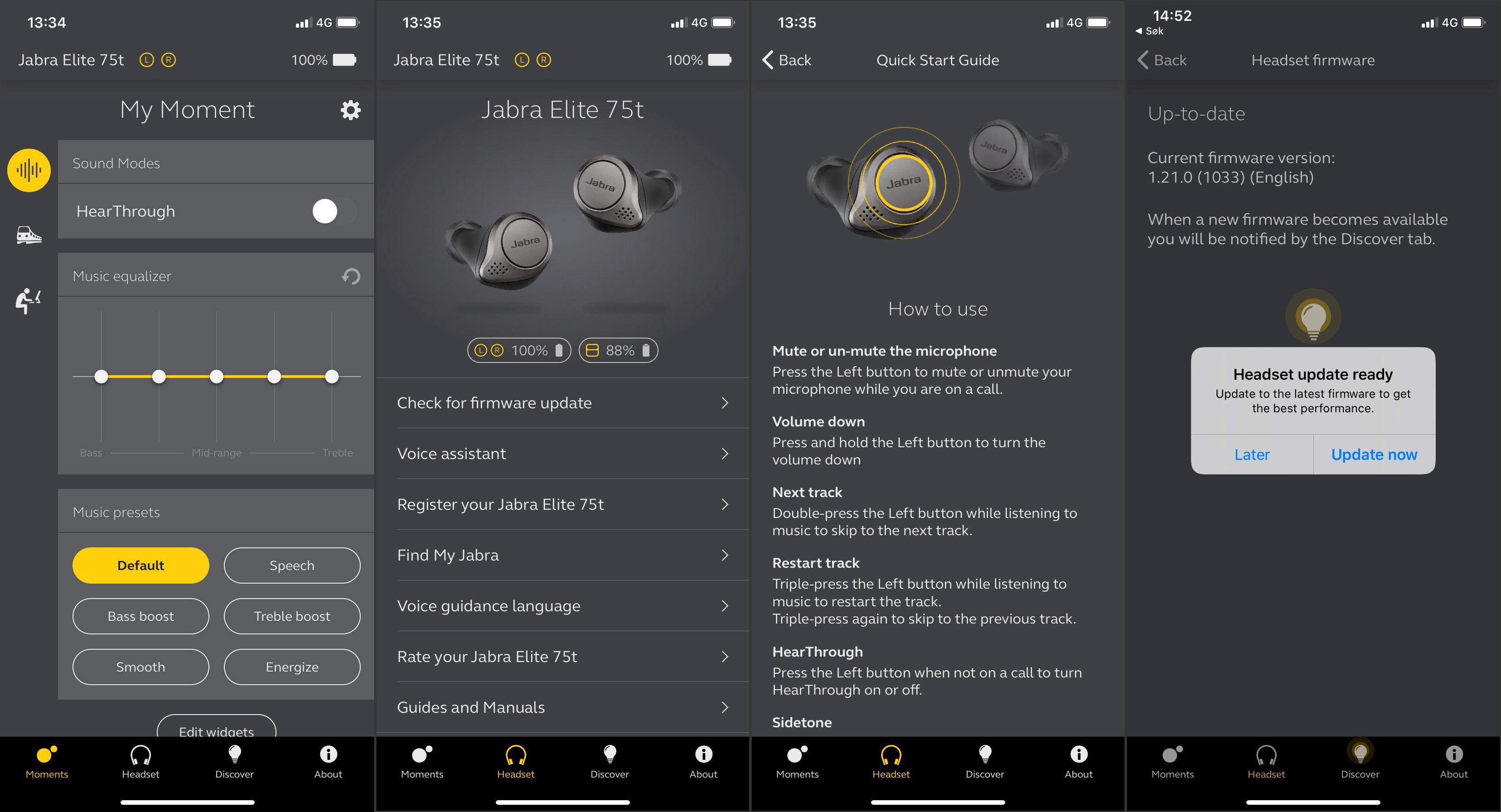 Jabras stort sett gode og funksjonsrike app. Herfra kan du også oppdatere fastvaren, som gjennomføres ved å sette pluggene i etuiet, lukke lokket og vente til lysdioden bak slutter å blinke.