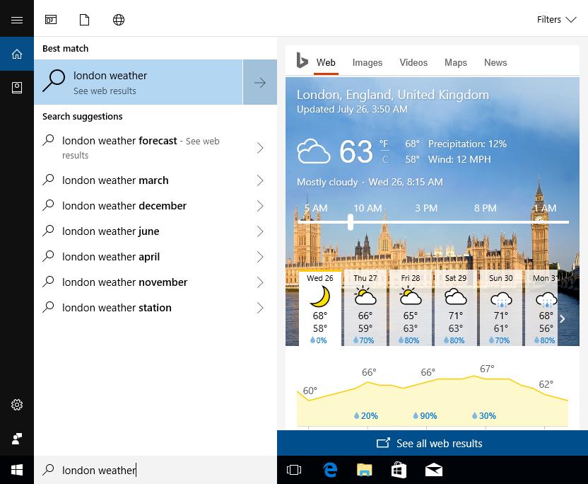 Cortana har fått en egen fane i startmenyen slik at du kan få svar på det du lurer på uten å åpne nettleseren.