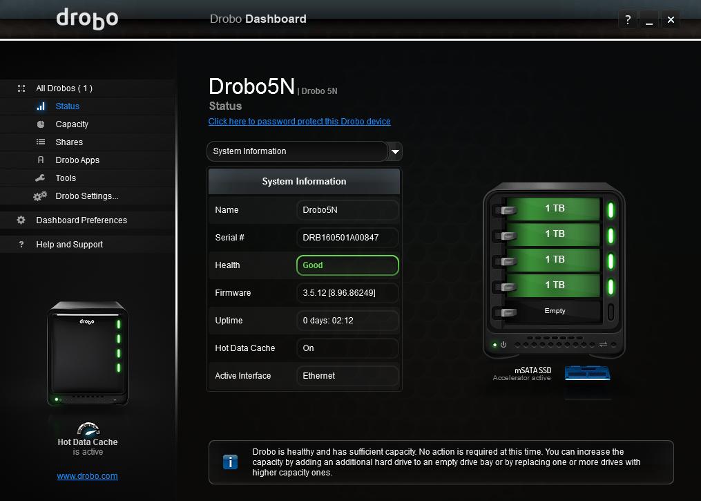 For oppsett og oppretting av brukere eller mapper må du bruke Drobo Dashboard.