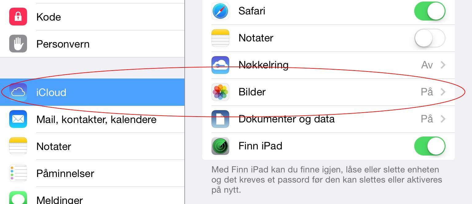 I iOS slår du av og på bildestrømmen under Bilder i iCloud-innstillingene.