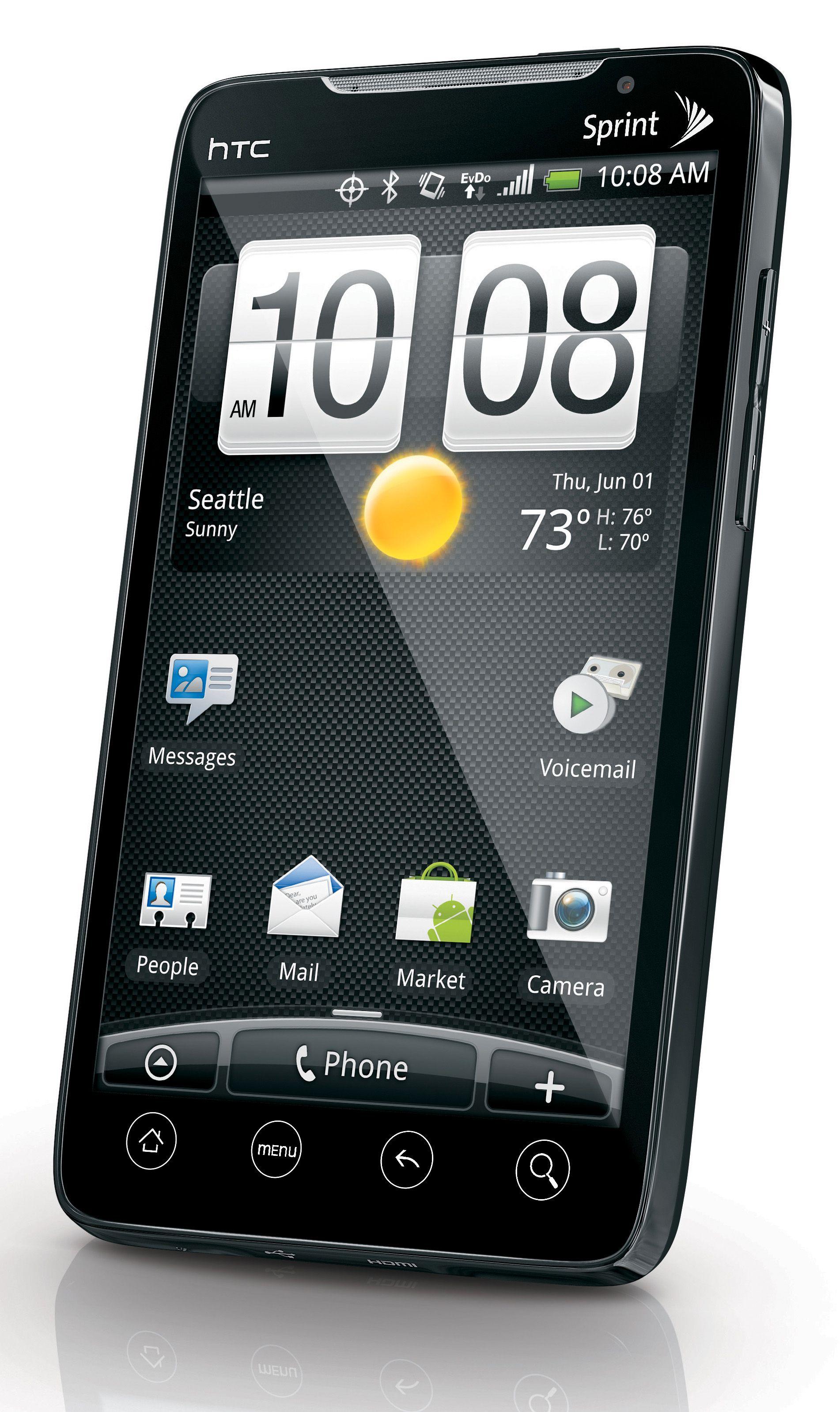 Slik ser HTC Evo 4G ut. Det er usikkert hvordan den vil se ut etter en eventuell forvandling til Desire HD for salg i Europa.