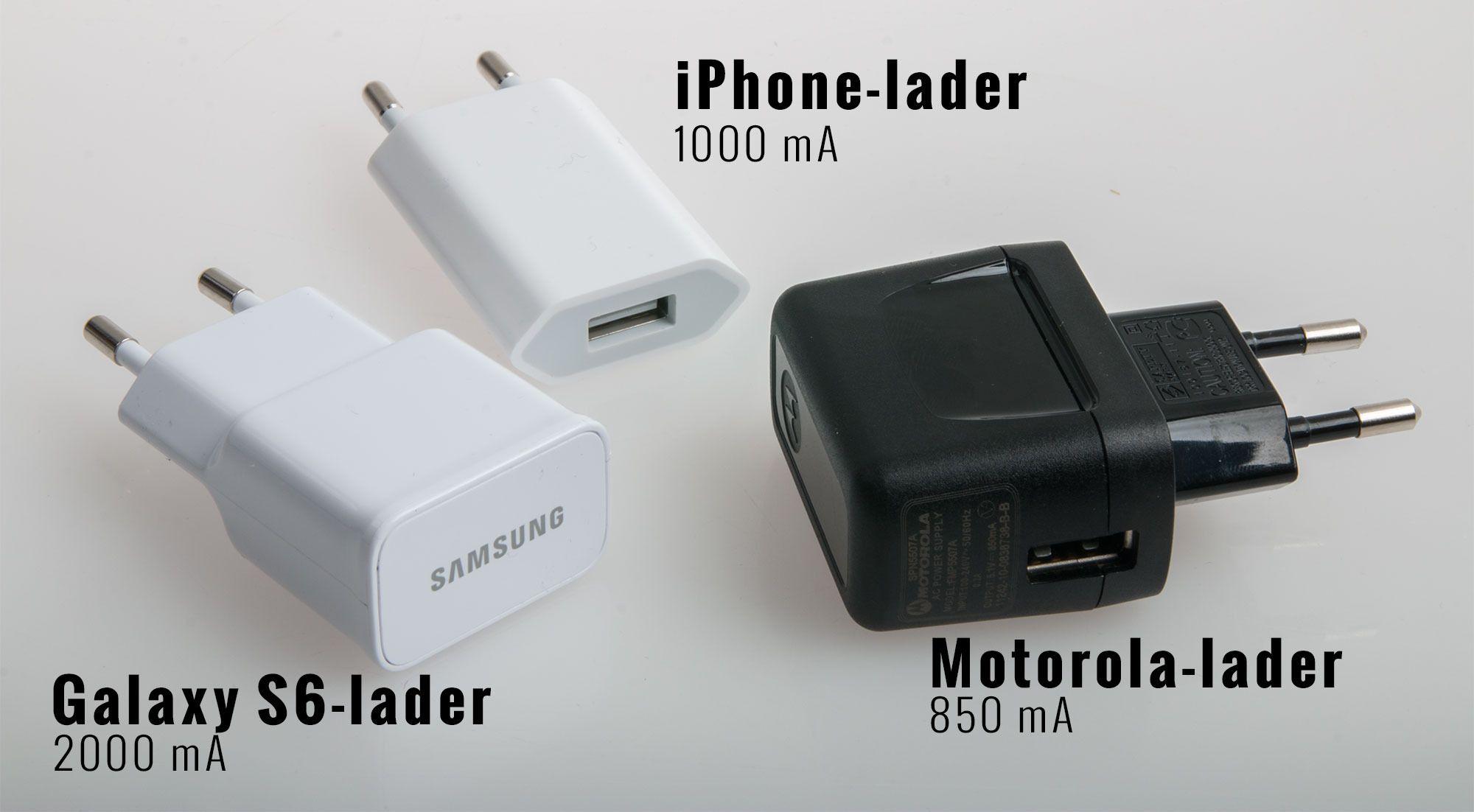 Disse tre laderne, i tillegg til USB-utgangen til en MacBook Pro, ga vidt forskjellige resultater. Foto: Kurt Lekanger,Tek.no