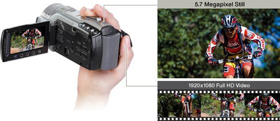 JVC Everio GZ-HM1 tillater at du kan skyte 5,7 MP stillbilder samtidig som du filmer i 1920x1080 full HD. Illustrasjon: jvc.com