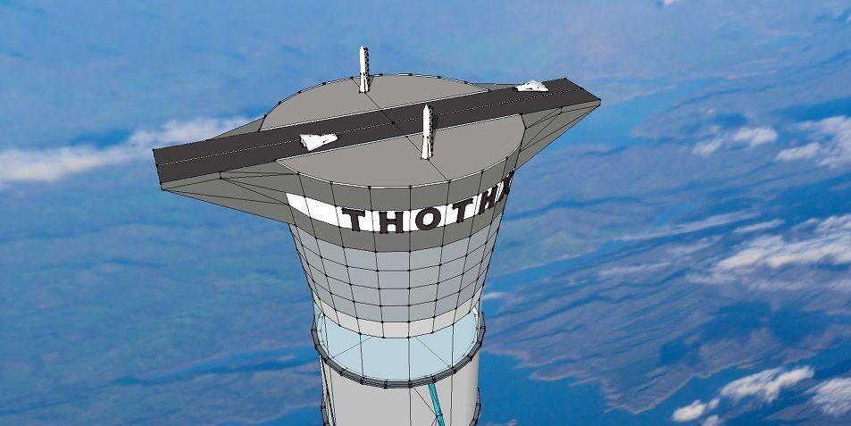 Rullebane for romskip på toppen av tårnet. . Foto: Thothx.com