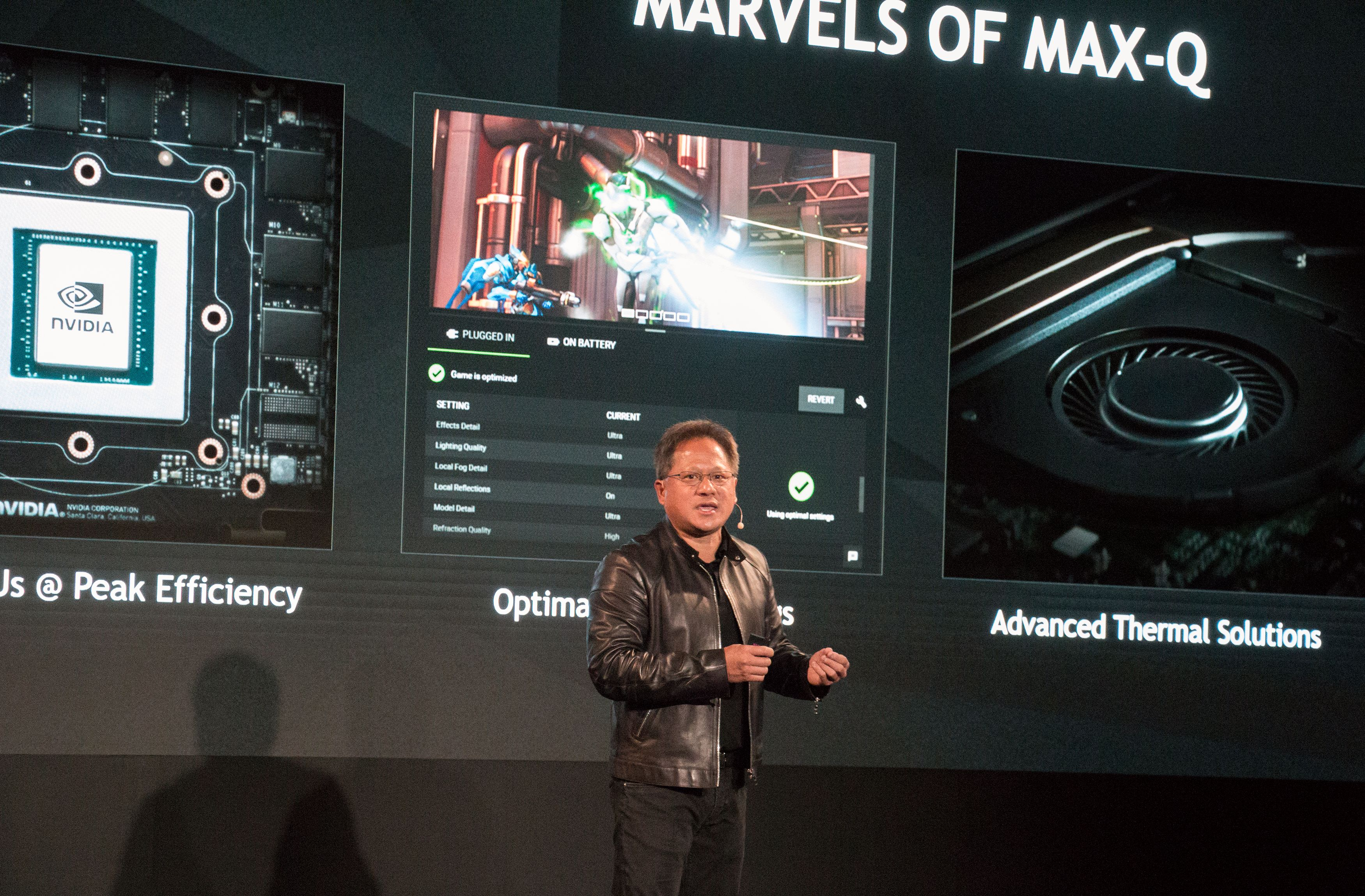 Både designet av den spillbærbare, grafikkbrikken, driveren og kjøleløsningen må holde høy kvalitet og samarbeide godt for at Max-Q-designmerket skal gis.