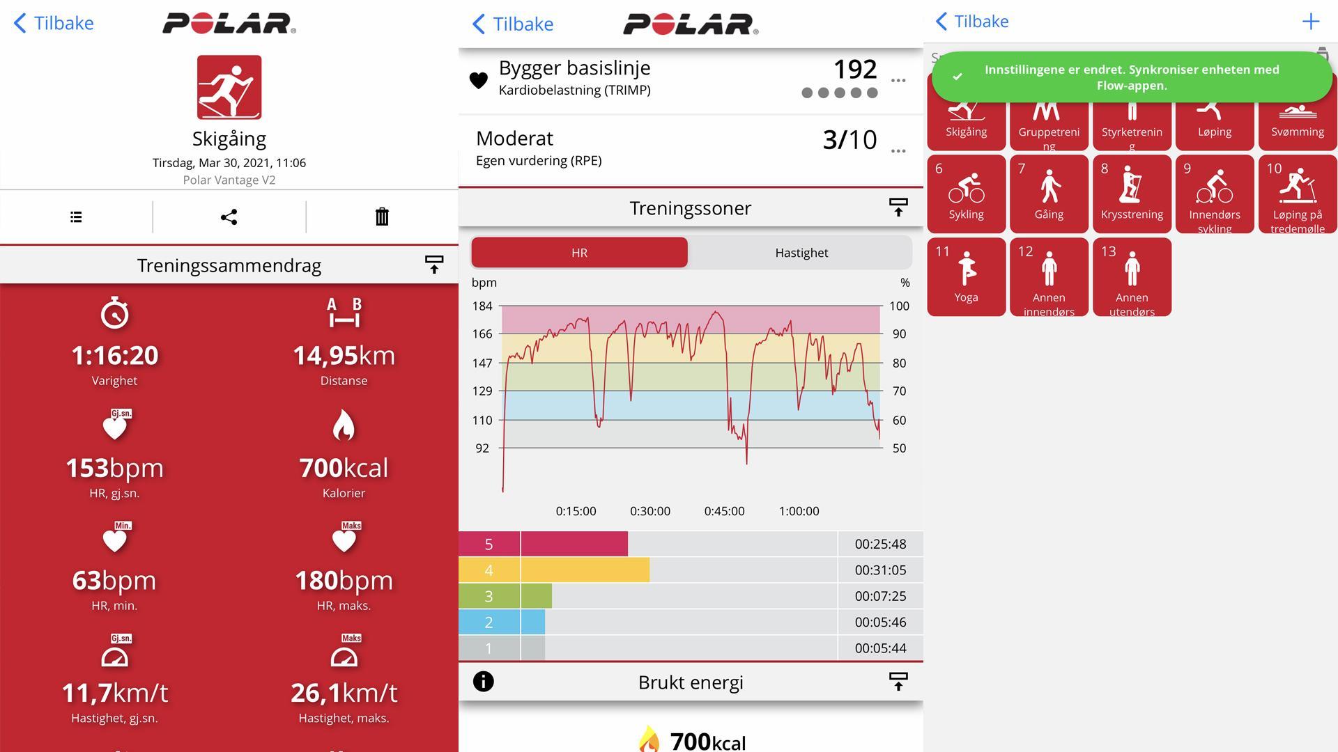 FUNKSJONELL: Appen til Polar, Flow, er utrolig oversiktlig og meget lett både å lese og forstå.