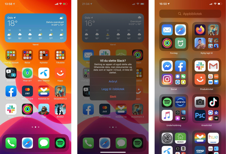 Du kan enkelt fjerne apper fra hjemmeskjermene og la dem ligge i appbiblioteket i stedet. Det gjør iOS til et mye ryddigere sted.