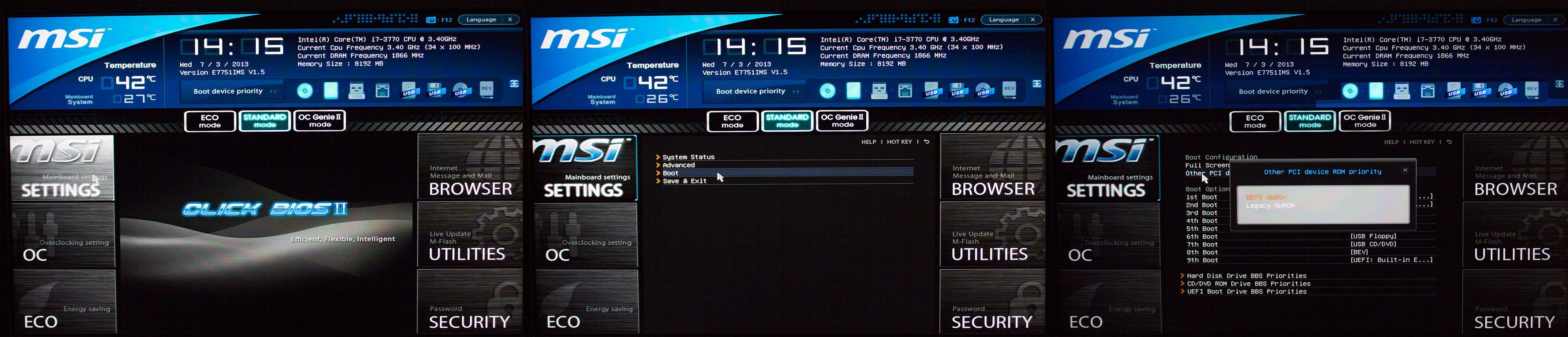 Slik går vi frem for å bytte til Legacy Mode på et av våre MSI-hovedkort, men dette varierer mellom kort. (Klikk for større bilde)Foto: Varg Aamo, Hardware.no