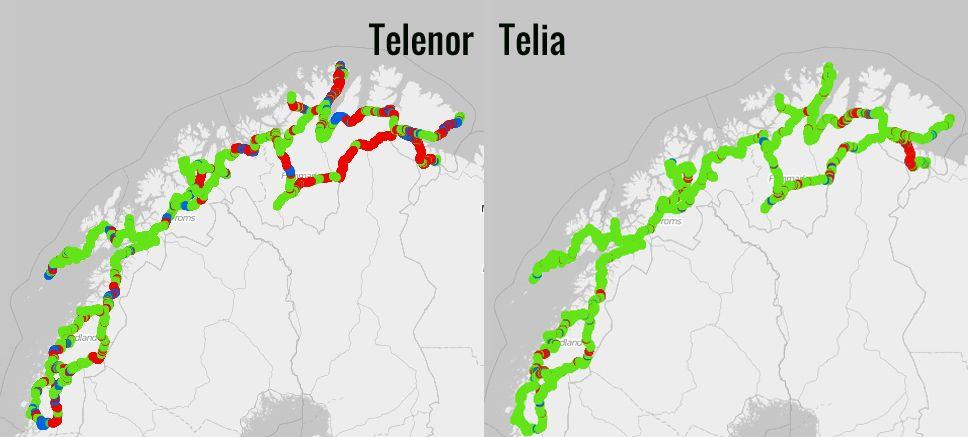 Spesielt i Nord-Norge var det stor forskjell på Telia og Telenor da vi testet dekning tidligere i år. Rødt er 2G, blått 3G og grønt 4G.
