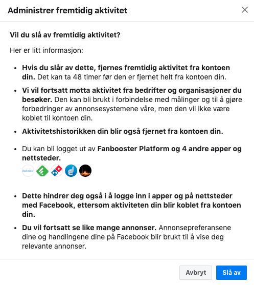 Facebooks advarsel hvis du ønsker å skru av fremtidig bruk av «Off Facebook Activity».