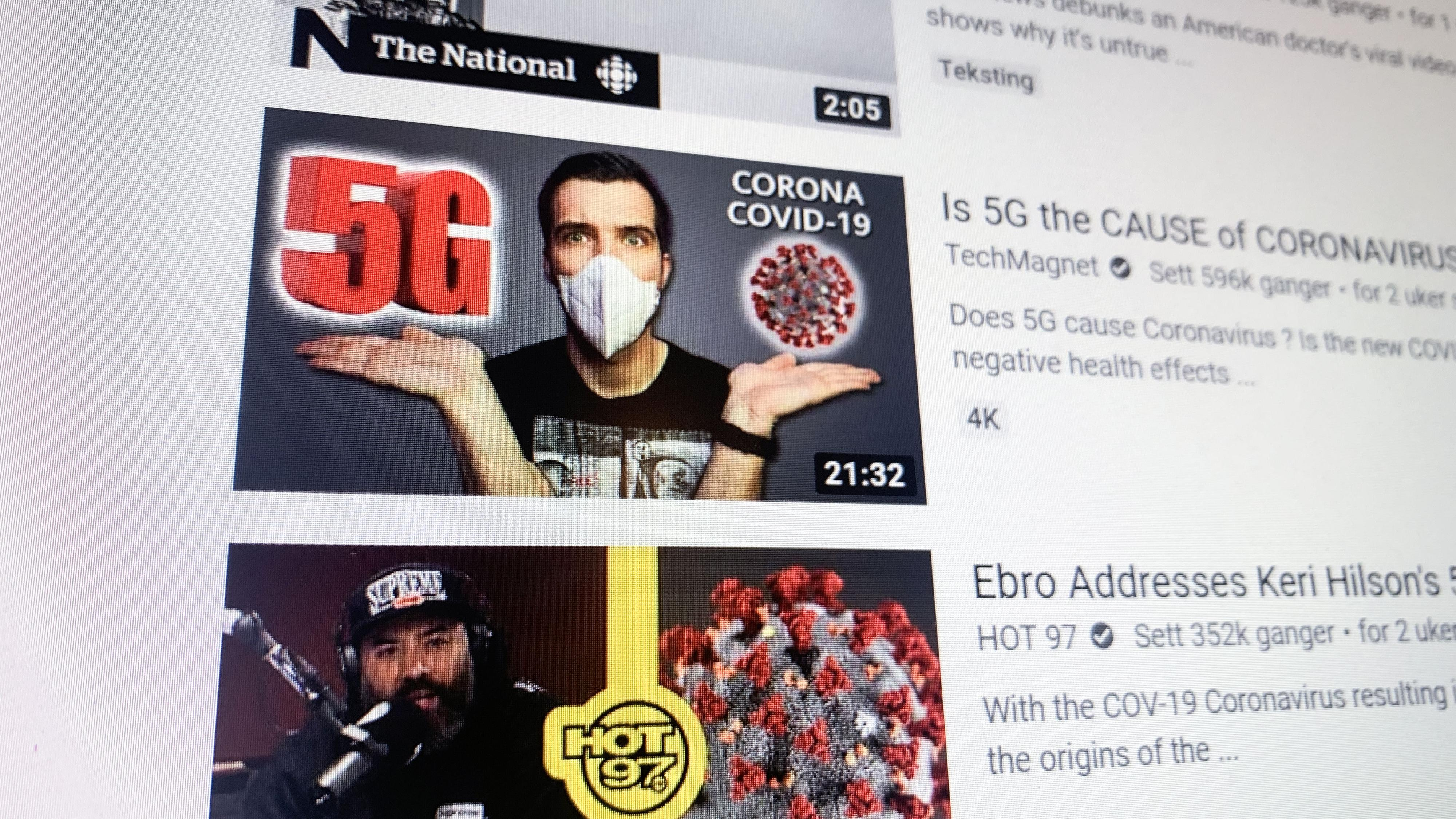 Fjerner videoer som kobler 5G med coronaviruset