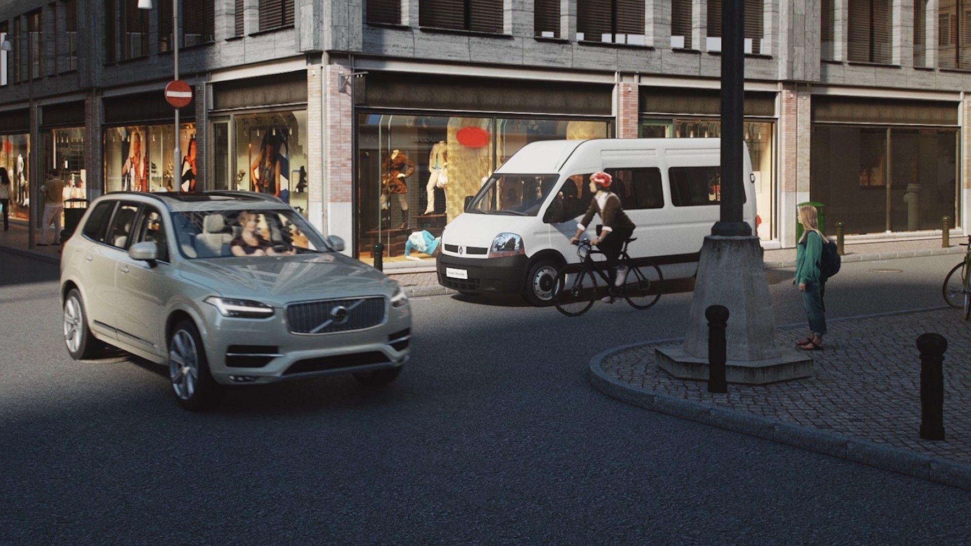 Bil og syklist i Internett-styrt forening.Foto: Volvo