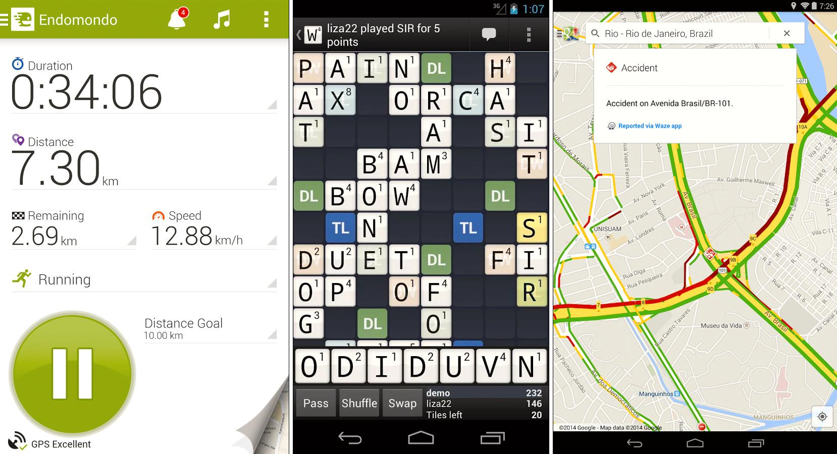 Varogs favoritter: Endomondo, Wordfeud og Google Maps. .