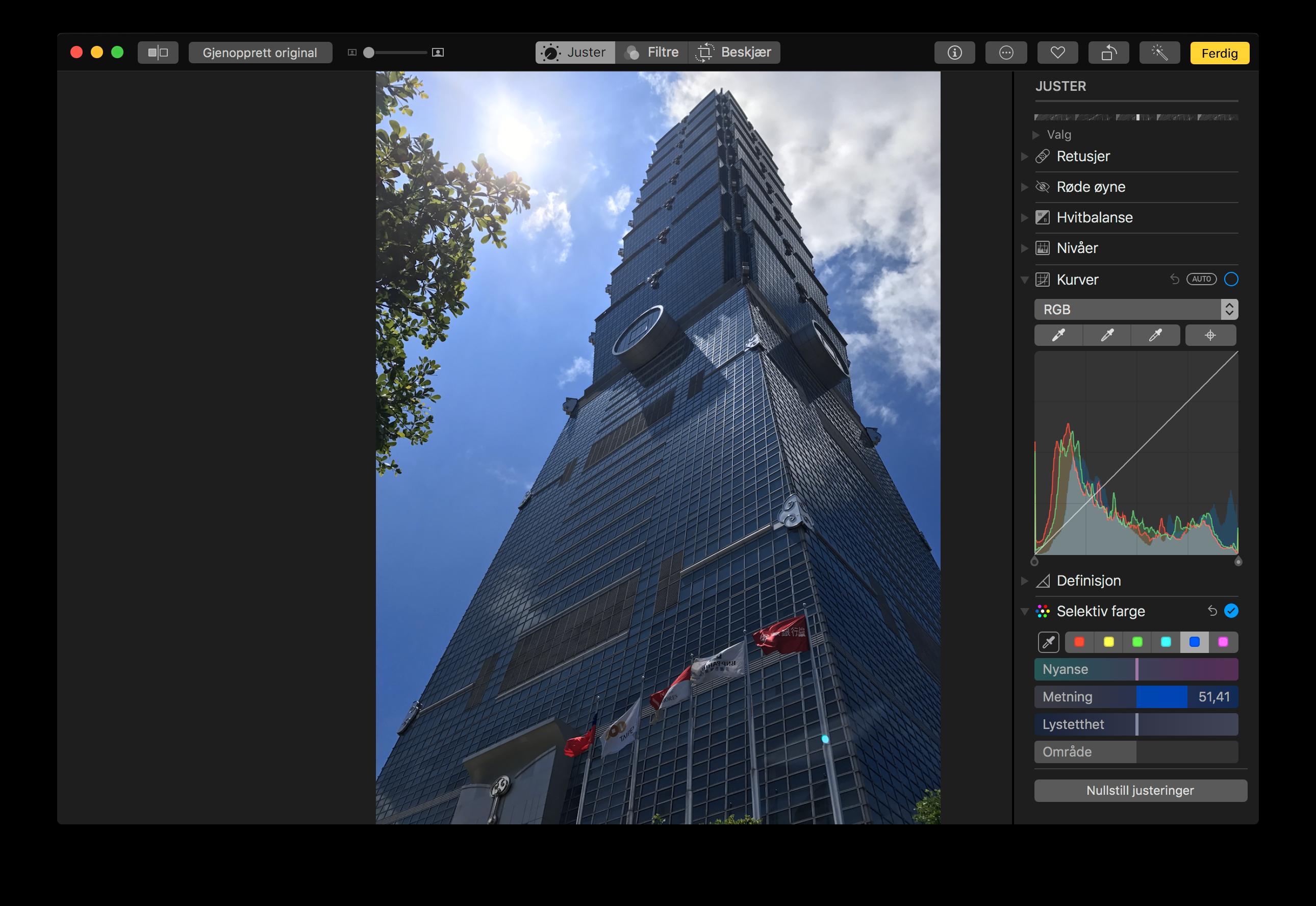 Bilder-appen får blant annet støtte for justering av fargekurve og selektiv fargejustering.