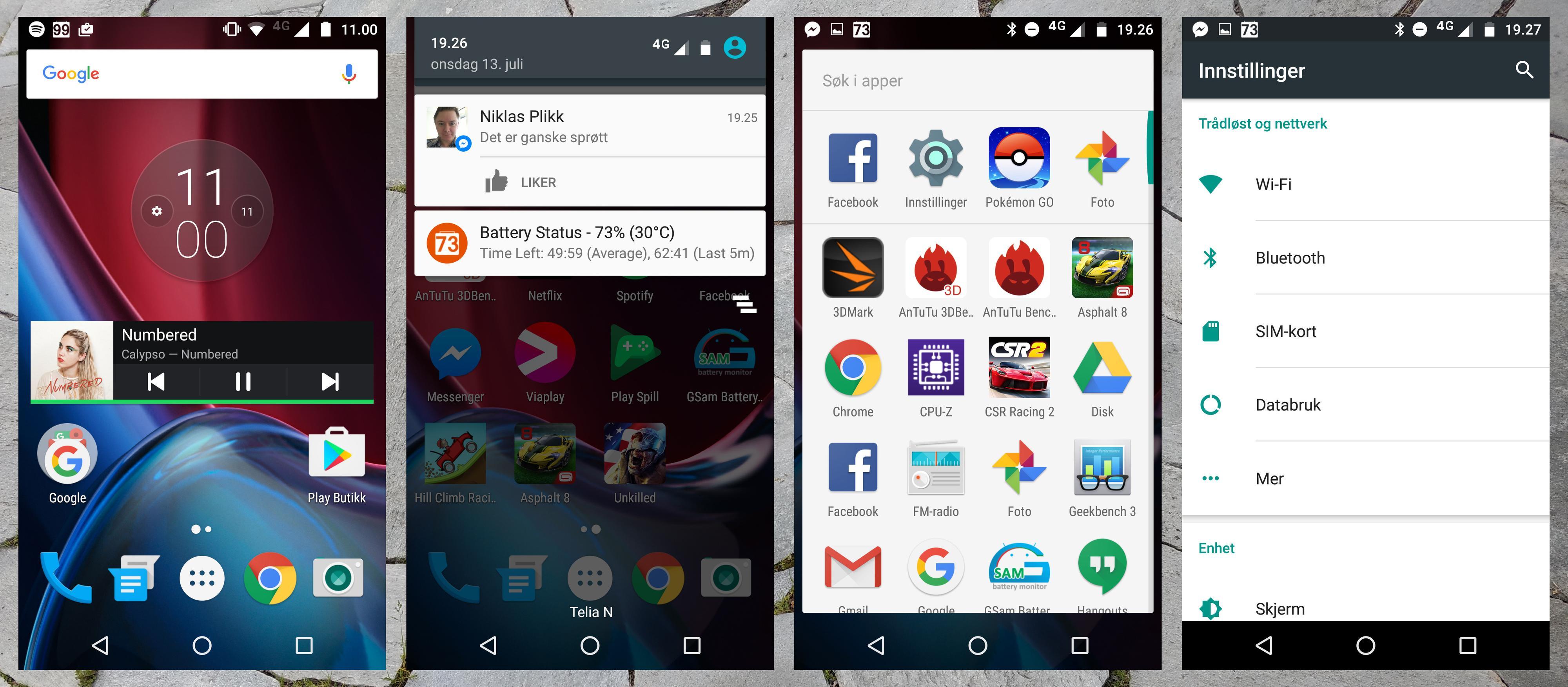 Helt grunnleggende Android gjør Moto G4 Plus både lynrask og enkel å bruke.