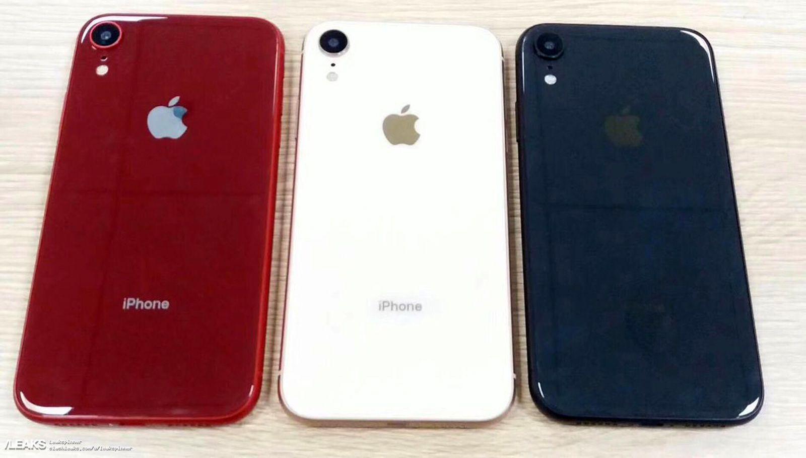 Dette skal angivelig være iPhone XC, i tre forskjellige farger. Den røde er en såkalt RED-modell, som Apple vanligvis venter 6 måneder med å lansere.