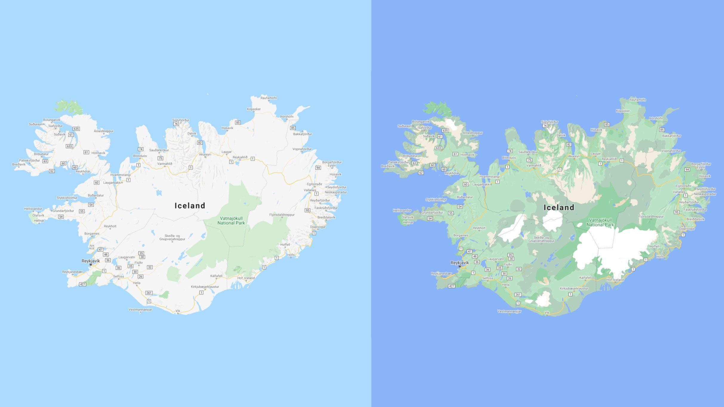 Det blir mye lettere å se de forskjellige naturområdene på Island etter oppdateringen, med tydelige skiller der isbreene ligger.