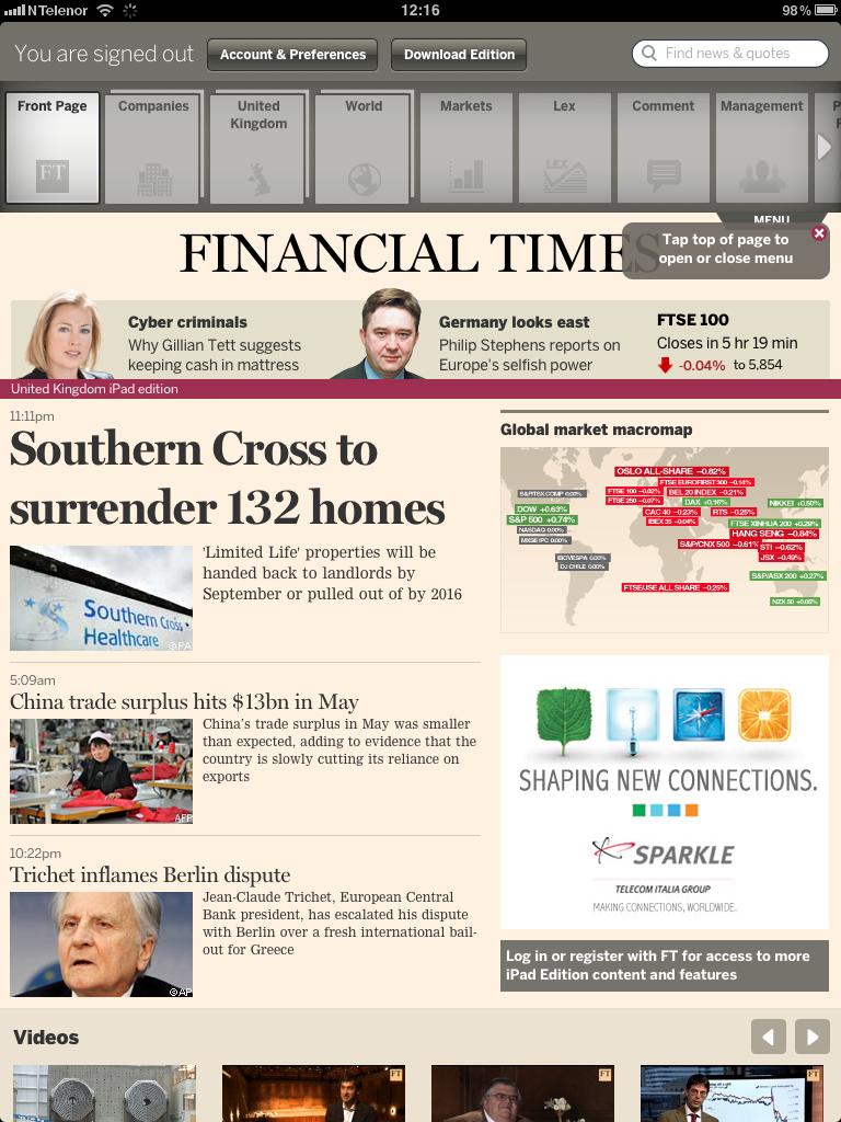 Financial Times har kjeklet med Apple siden februar. Nylig lanserte de en webapplikasjon for sine kunder.