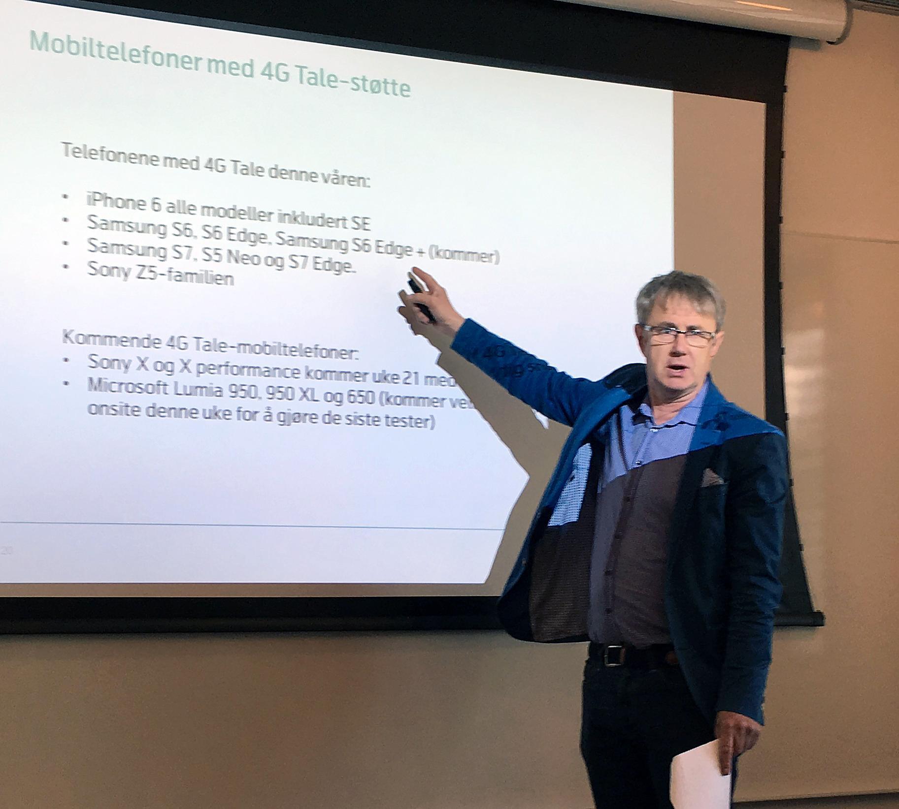 Dekningsdirektør Bjørn Amundsen i Telenor forteller at stadig flere telefoner nå får støtte for VoLTE.